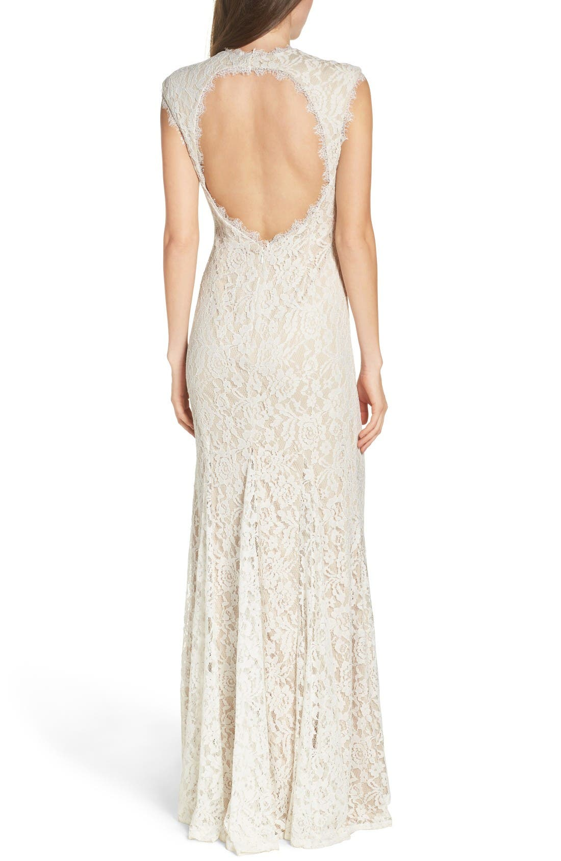 Alternate Image 2  - Aidan by Aidan Mattox Illusion Lace Column Gown