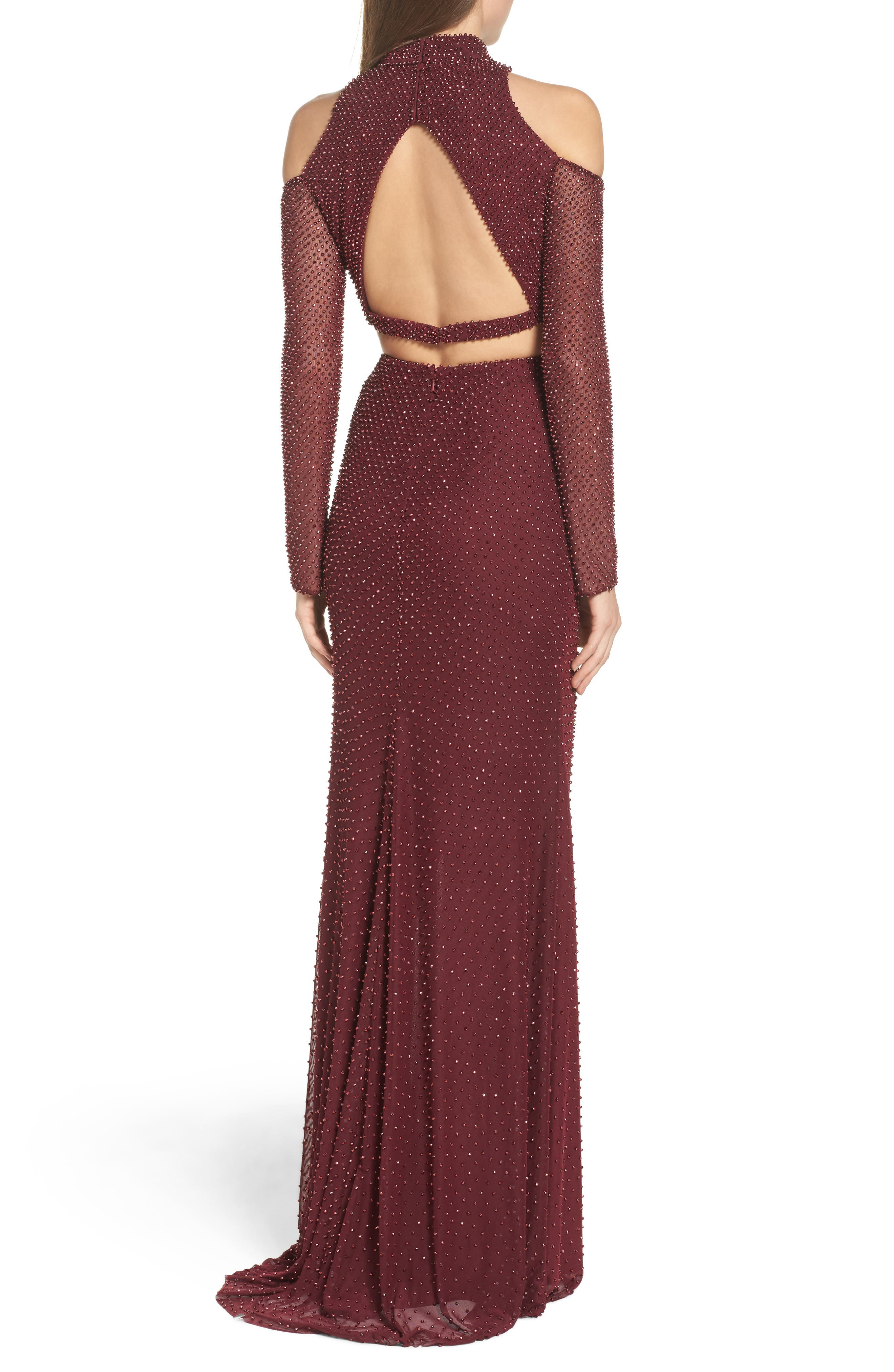 Mesh Two-Piece Gown,                             Alternate thumbnail 2, color,                             Garnet