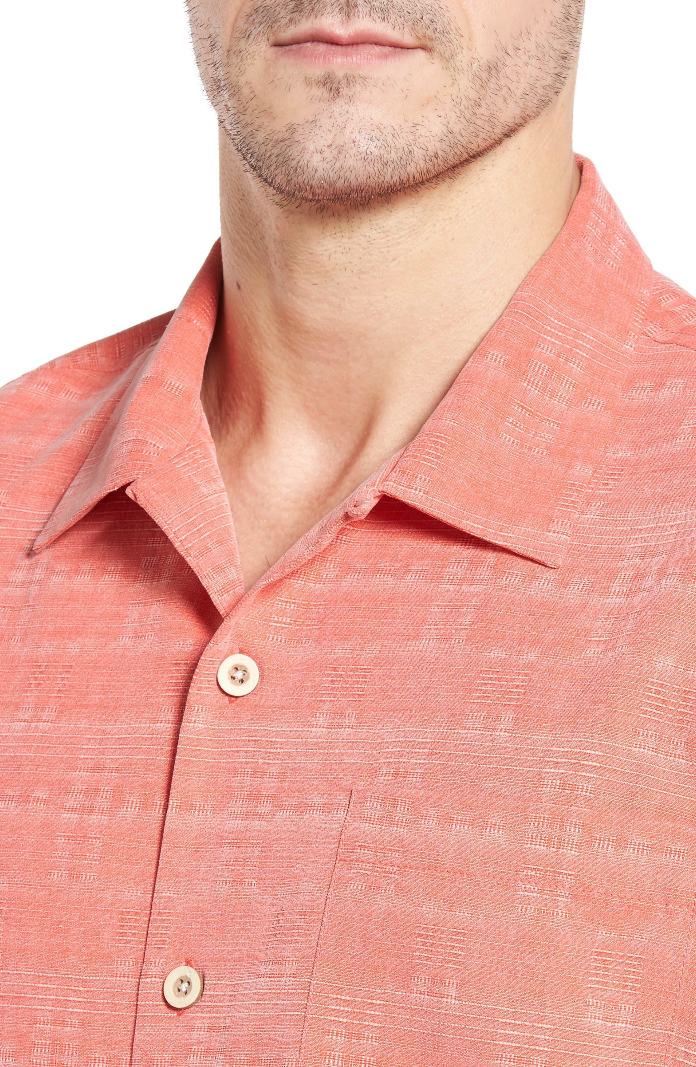 Original Fit Jacquard Silk Camp Shirt,                             Alternate thumbnail 4, color,                             Fusion