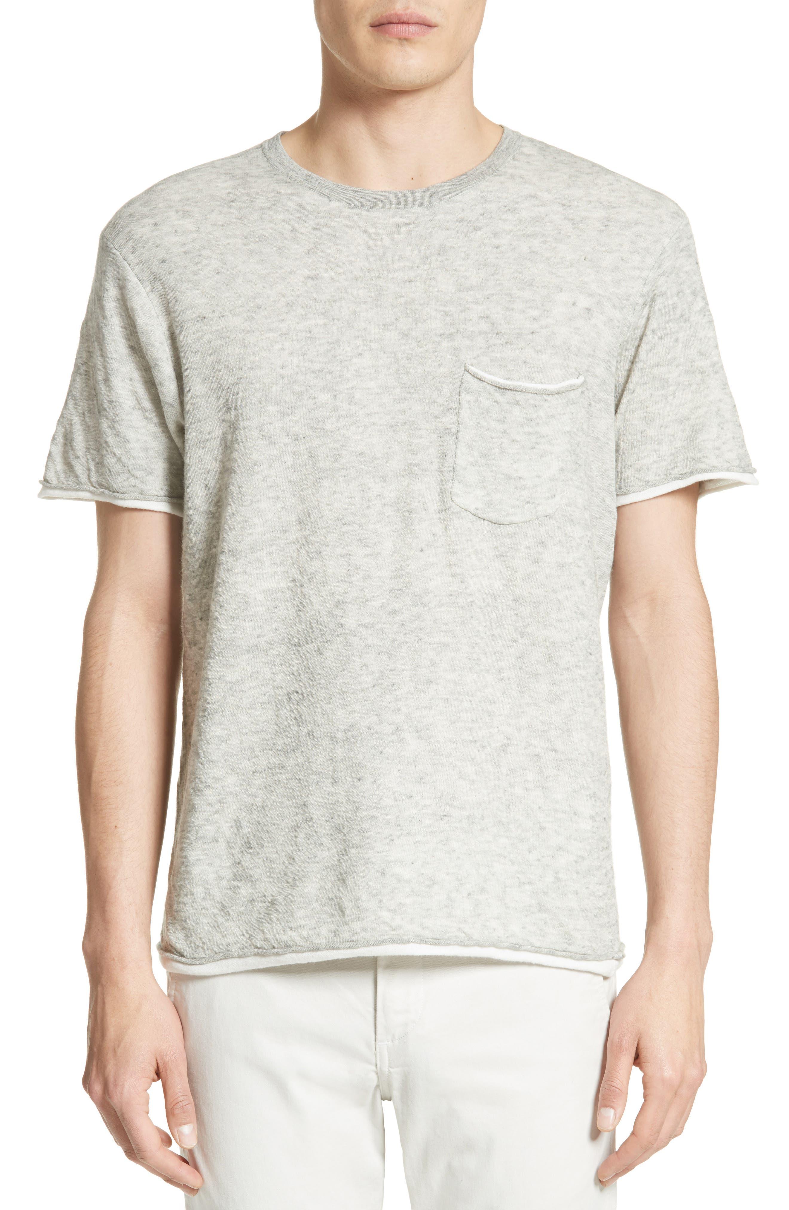 Tripp Cotton & Wool T-Shirt,                         Main,                         color, Grey/ White