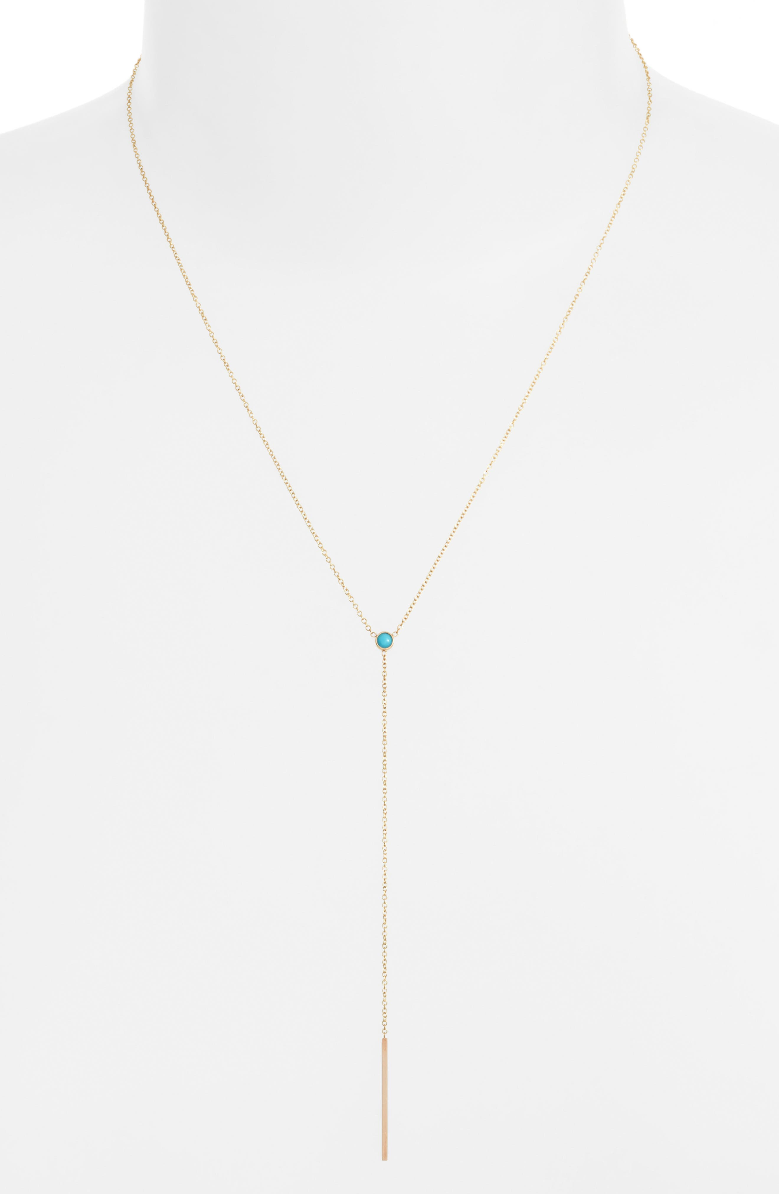 ZOË CHICCO Turquoise Bezel Y-Necklace
