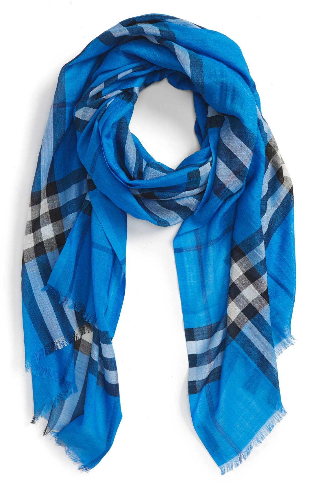 Giant Check Print Wool & Silk Scarf,                         Main,                         color, Cornflower Blue