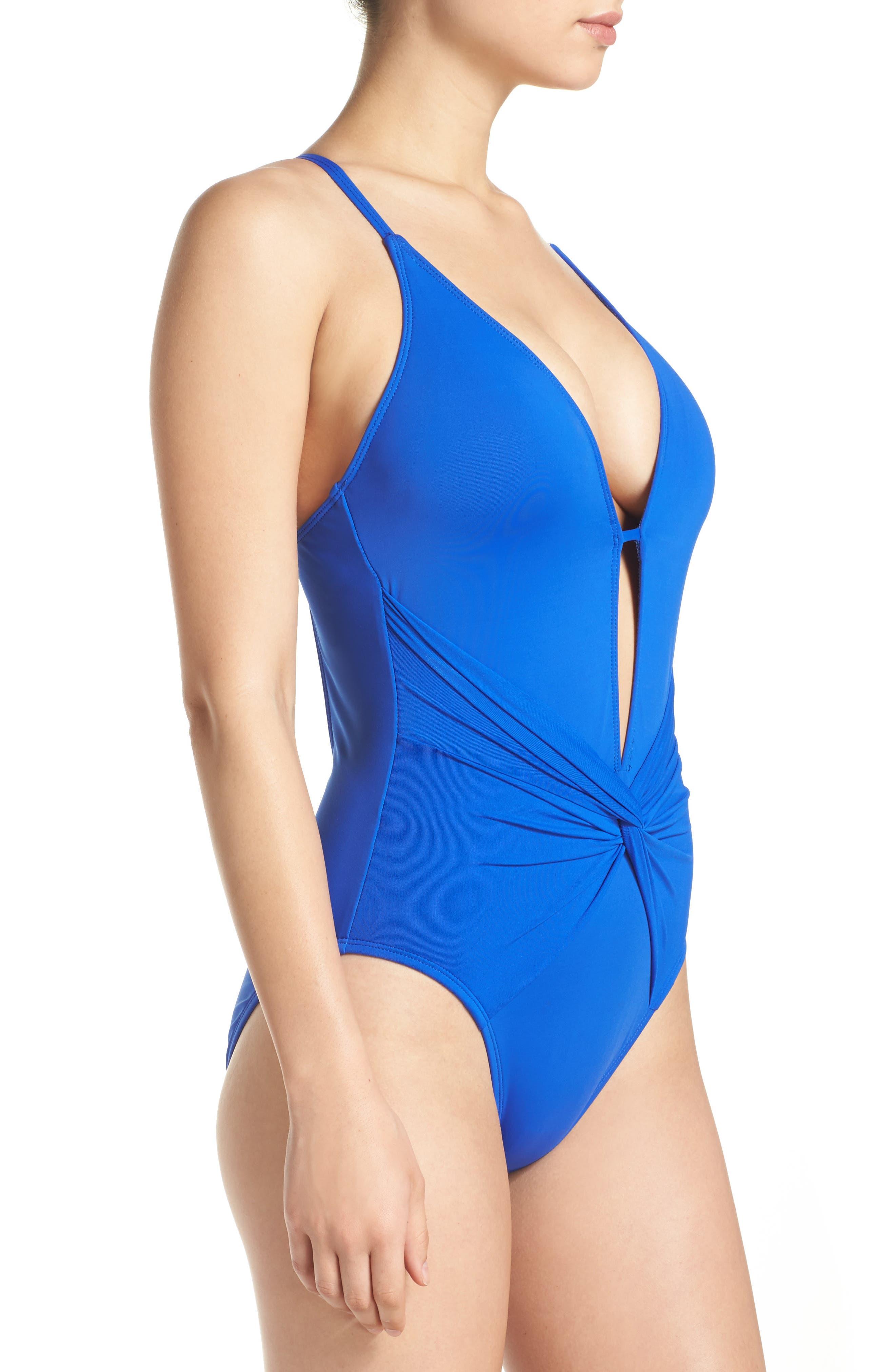 Island Goddess One-Piece Swimsuit,                             Alternate thumbnail 3, color,                             Sapphire