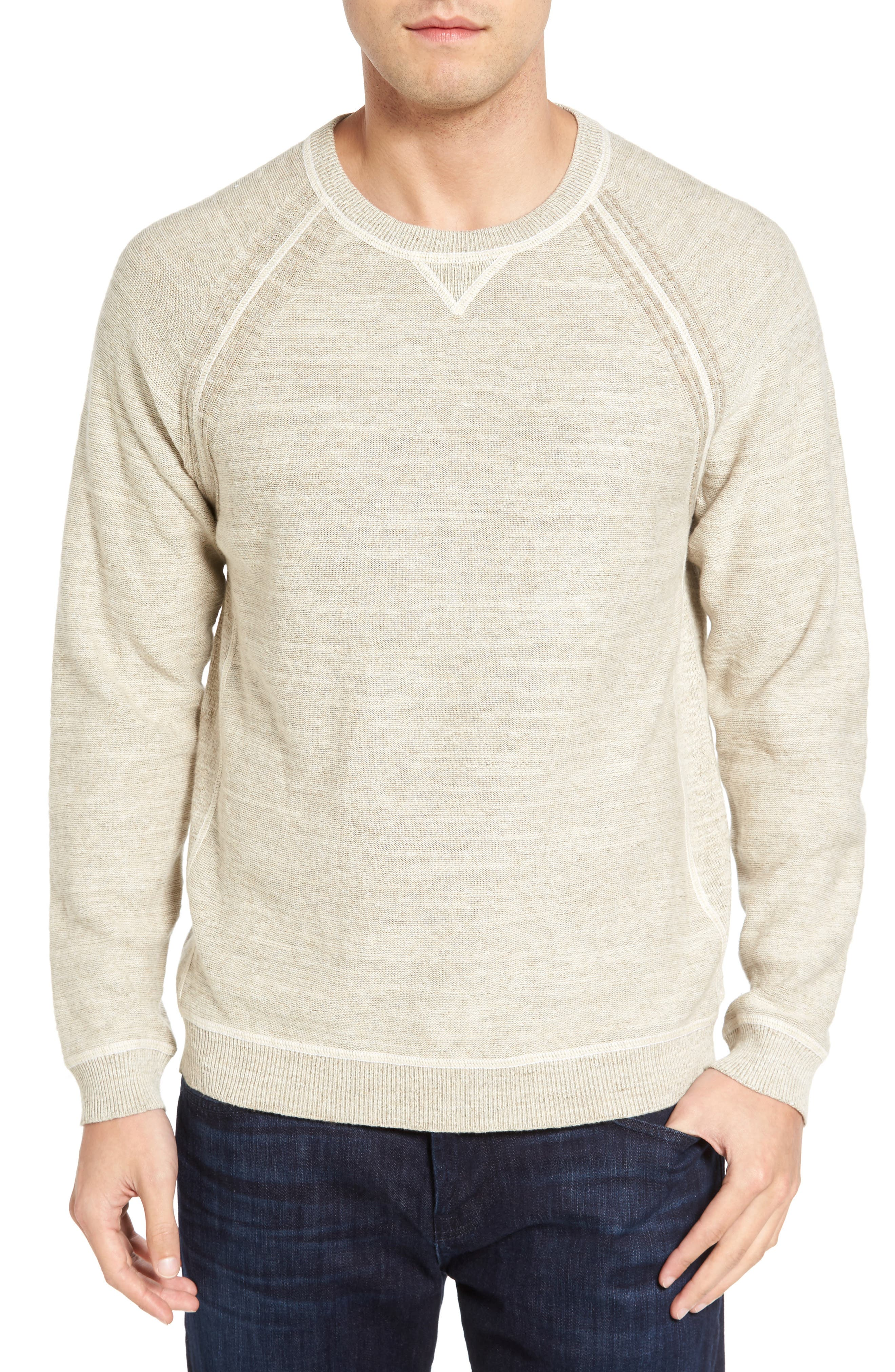 Sandy Bay Reversible Crewneck Sweater,                         Main,                         color, Natural
