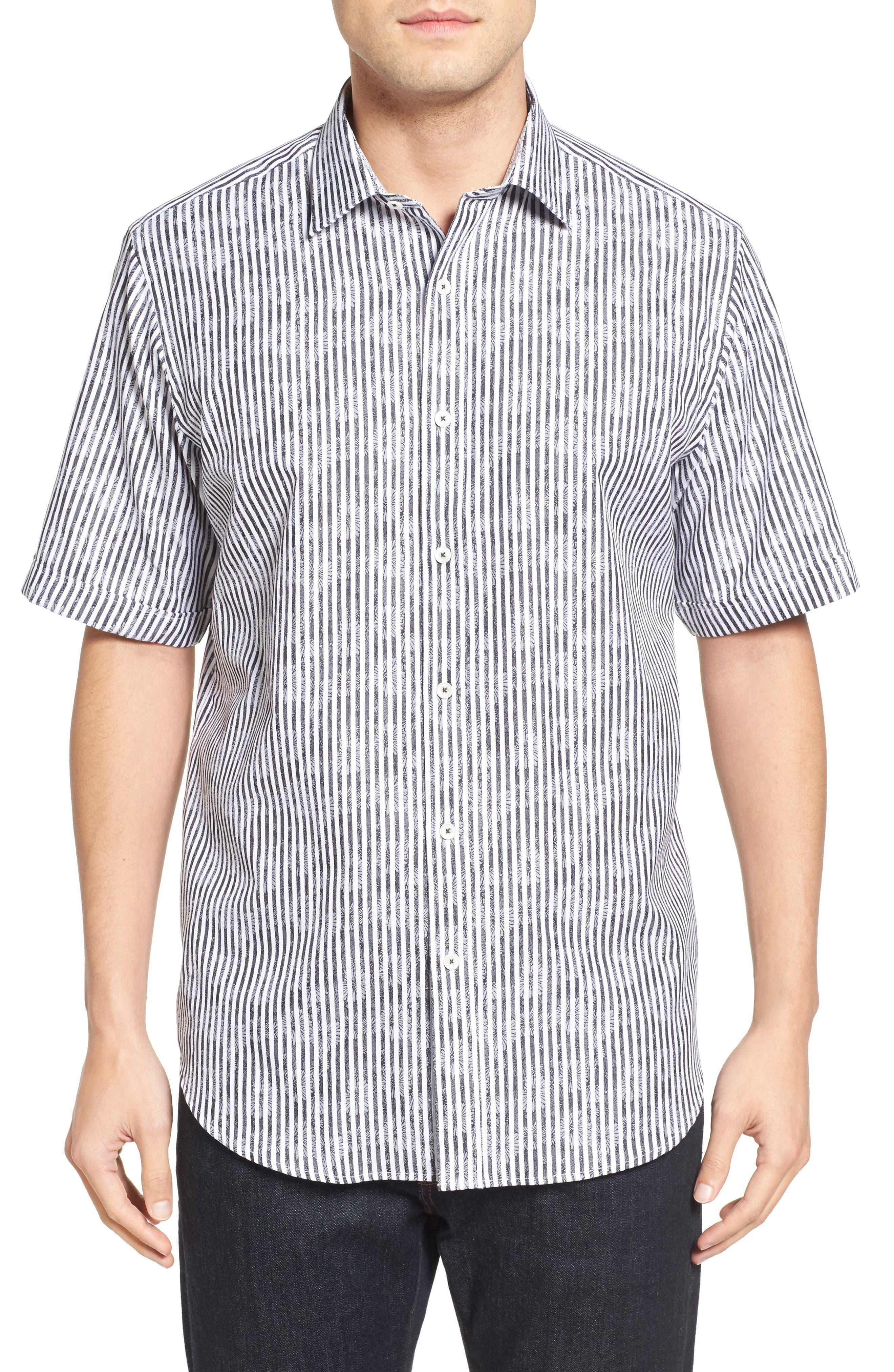 Main Image - Bugatchi Classic Fit Floral Stripe Sport Shirt