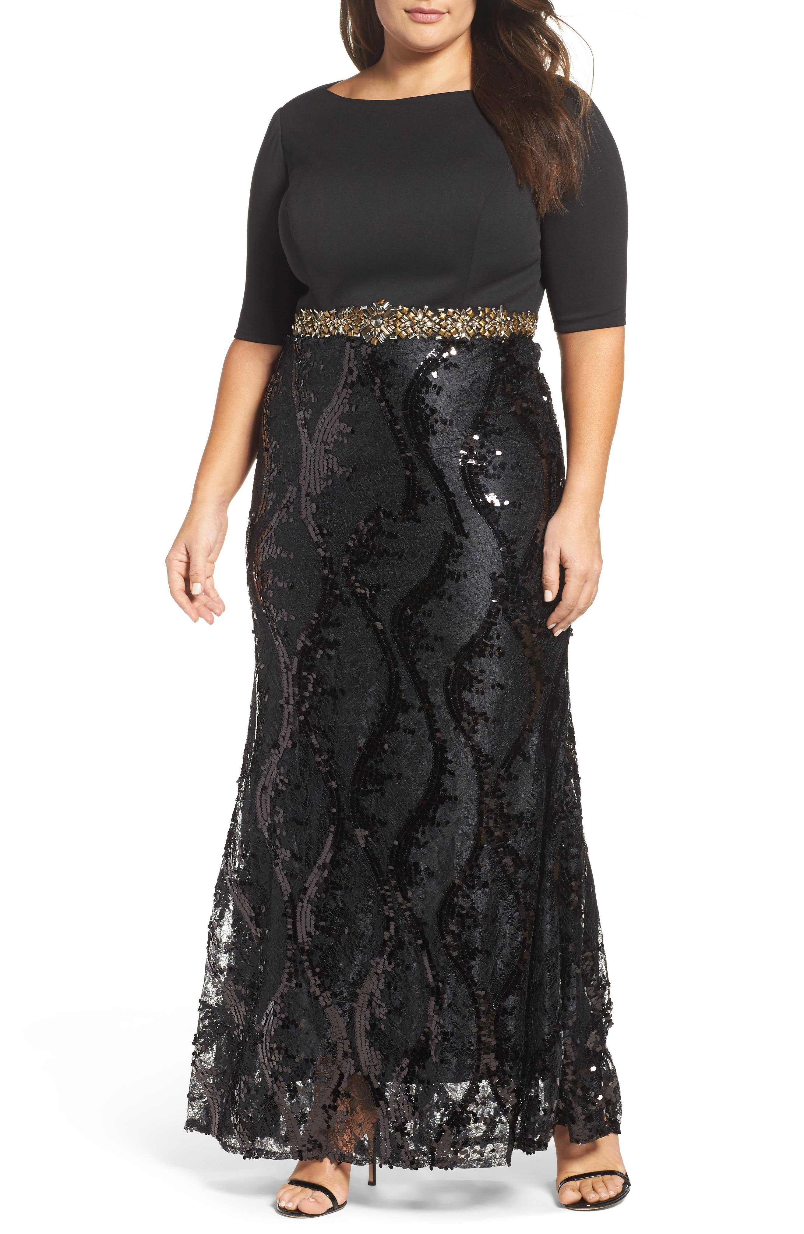 Embellished Mixed Media Gown,                             Main thumbnail 1, color,                             Black