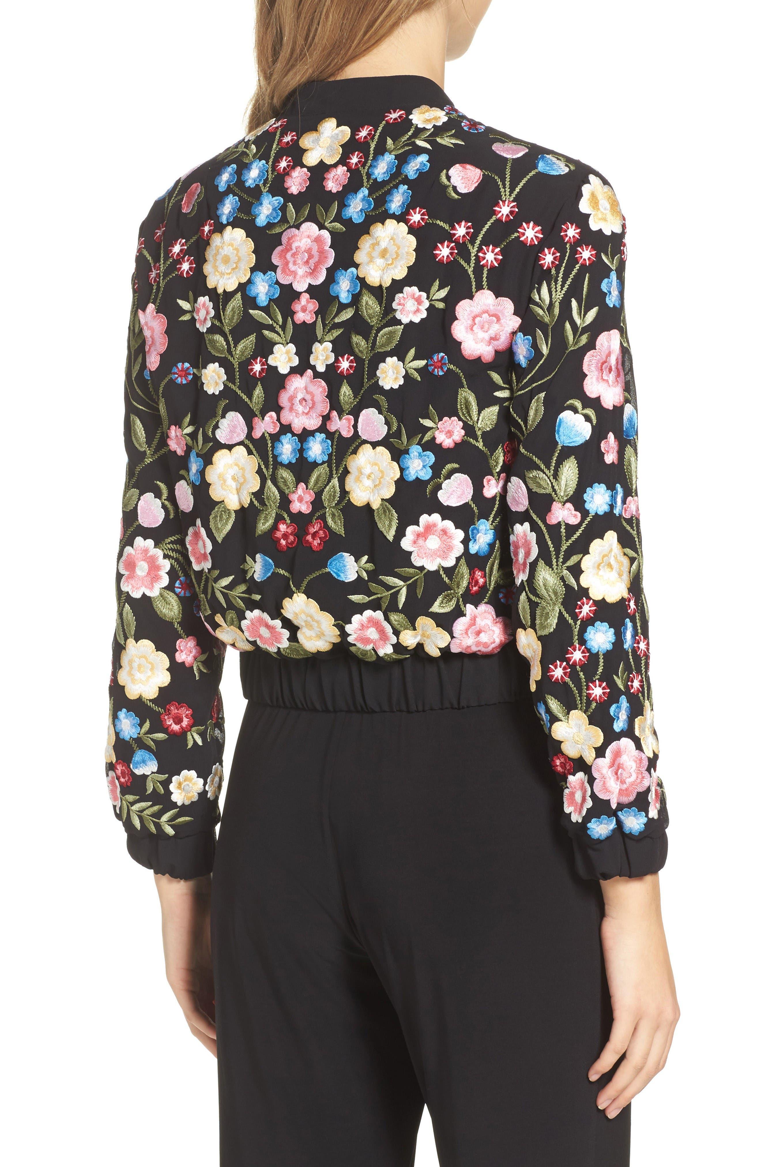 Flower Foliage Embroidered Bomber Jacket,                             Alternate thumbnail 2, color,                             Black