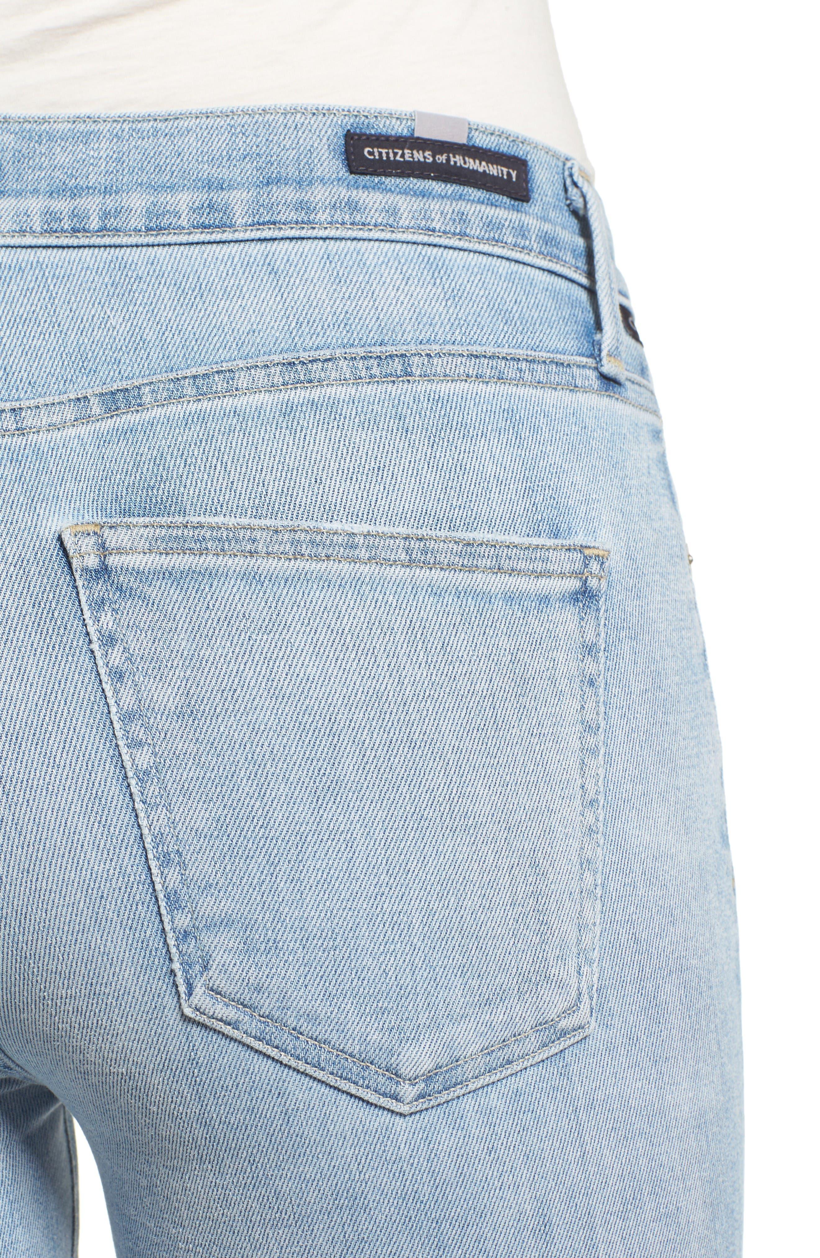 Rocket High Waist Crop Skinny Jeans,                             Alternate thumbnail 4, color,                             Oracle Blue