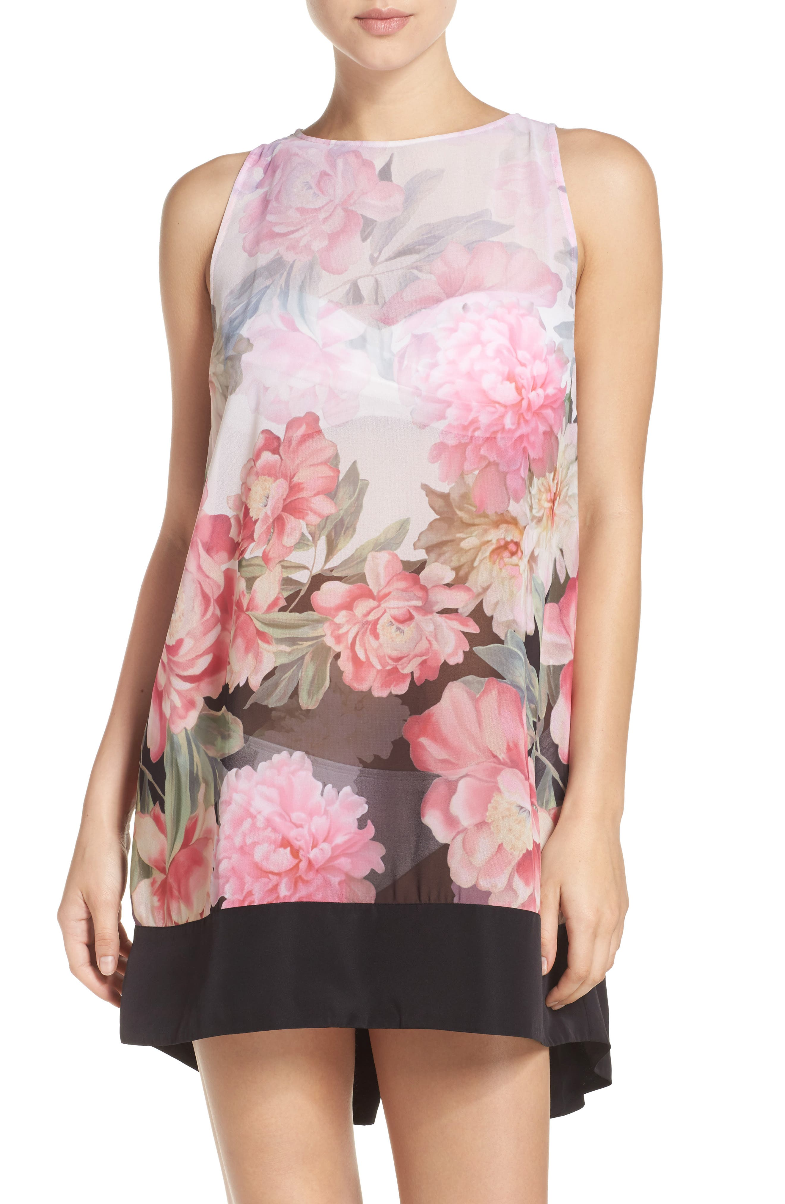 Painted Posie Cover-Up Dress,                             Main thumbnail 1, color,                             Baby Pink
