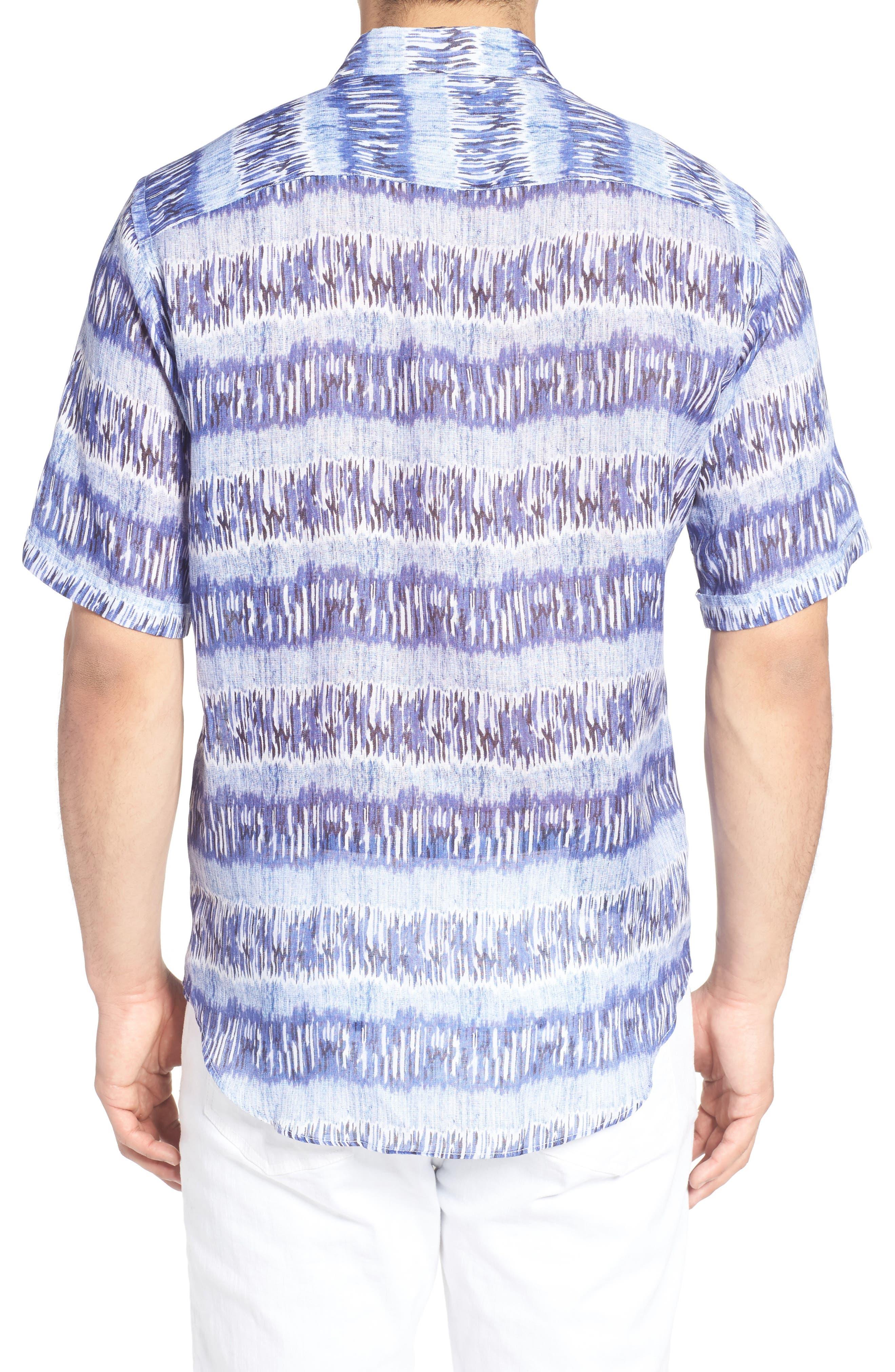 Alternate Image 2  - Bugatchi Shaped Fit Print Linen Sport Shirt