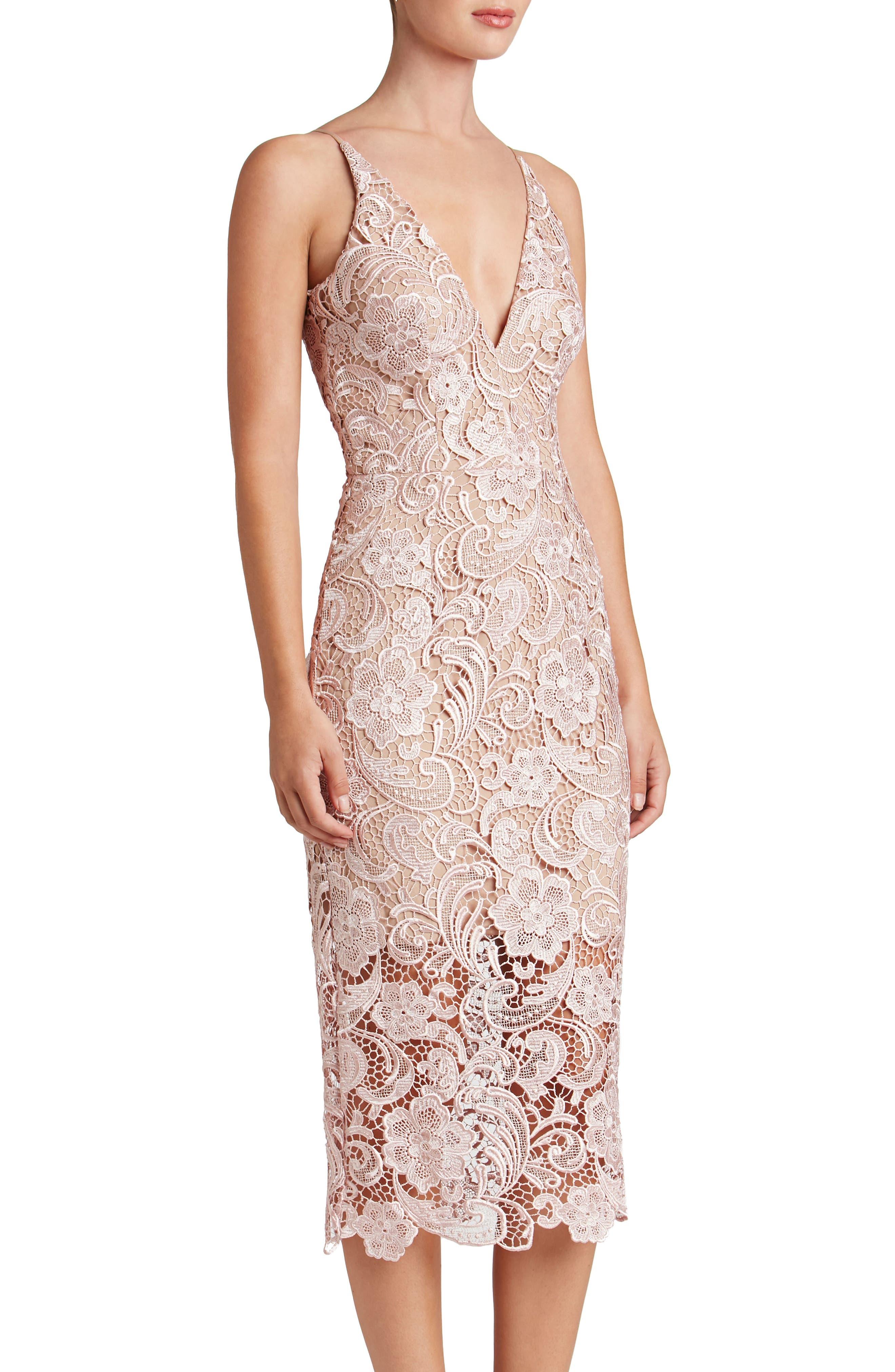 'Marie' Lace Midi Dress,                             Alternate thumbnail 3, color,                             Rose