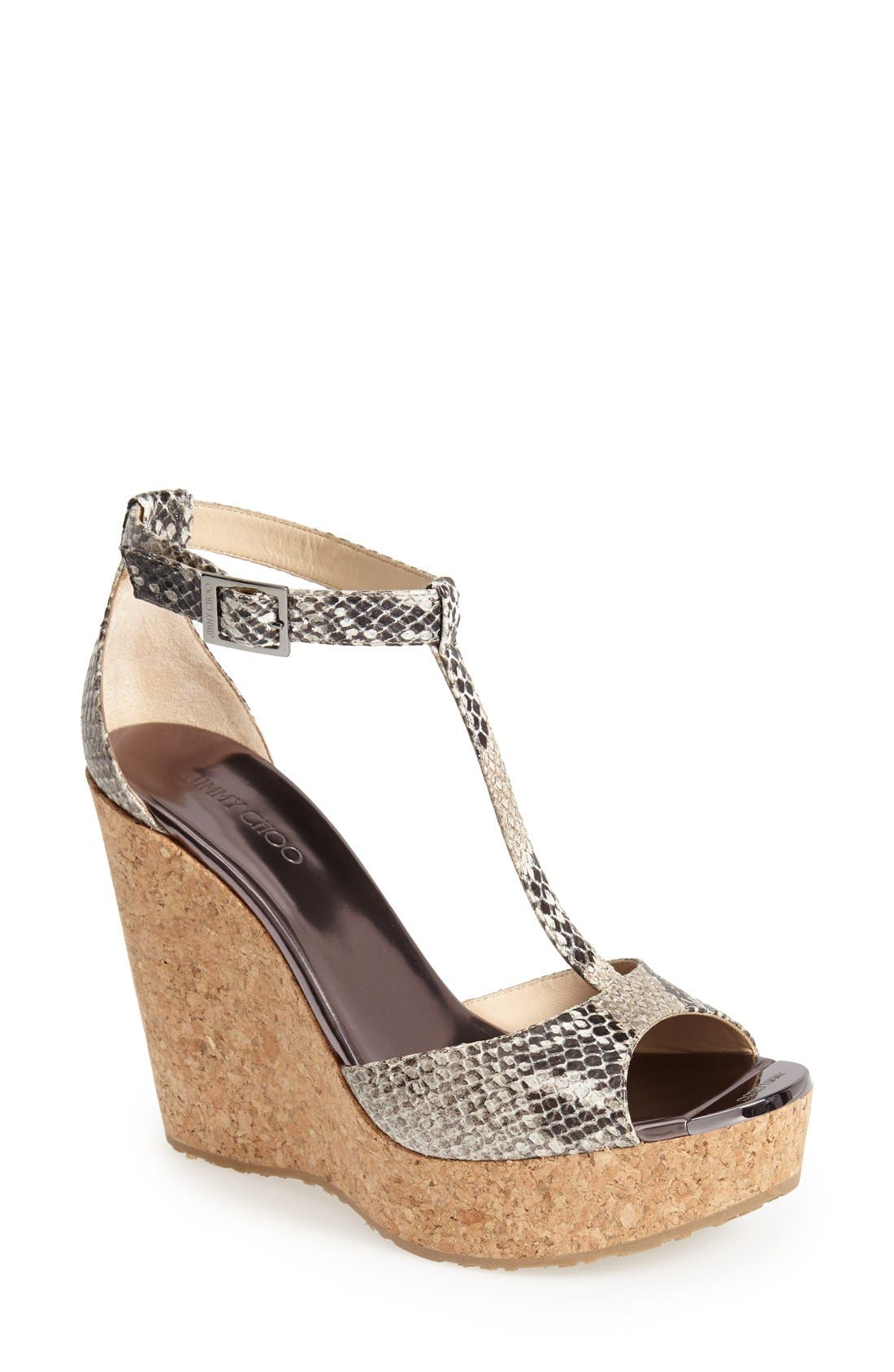 Alternate Image 1 Selected - Jimmy Choo 'Pela' Leather Wedge Sandal (Women)