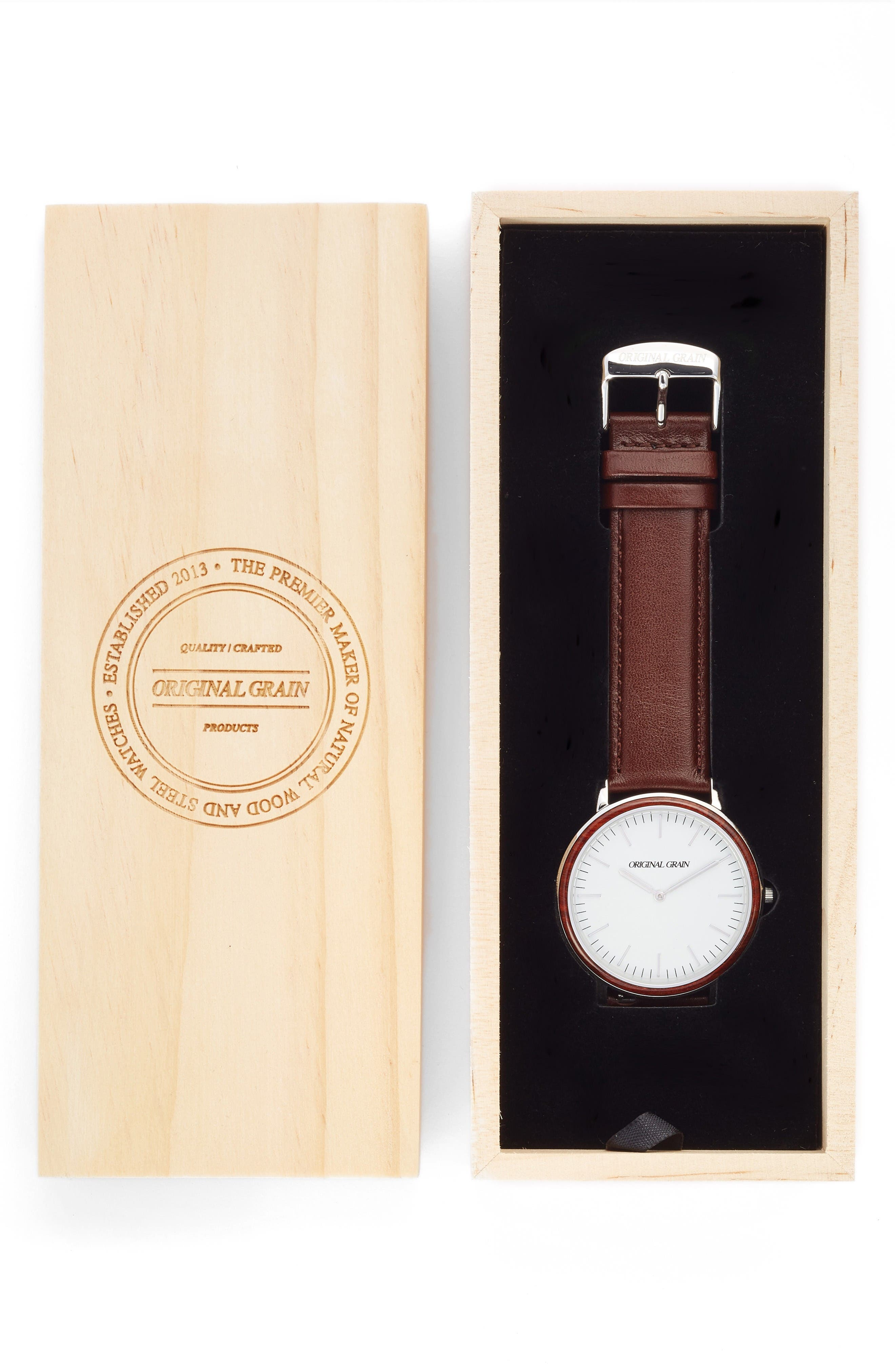 Minimalist Leather Strap Watch, 40mm,                             Alternate thumbnail 4, color,                             White/ Brown