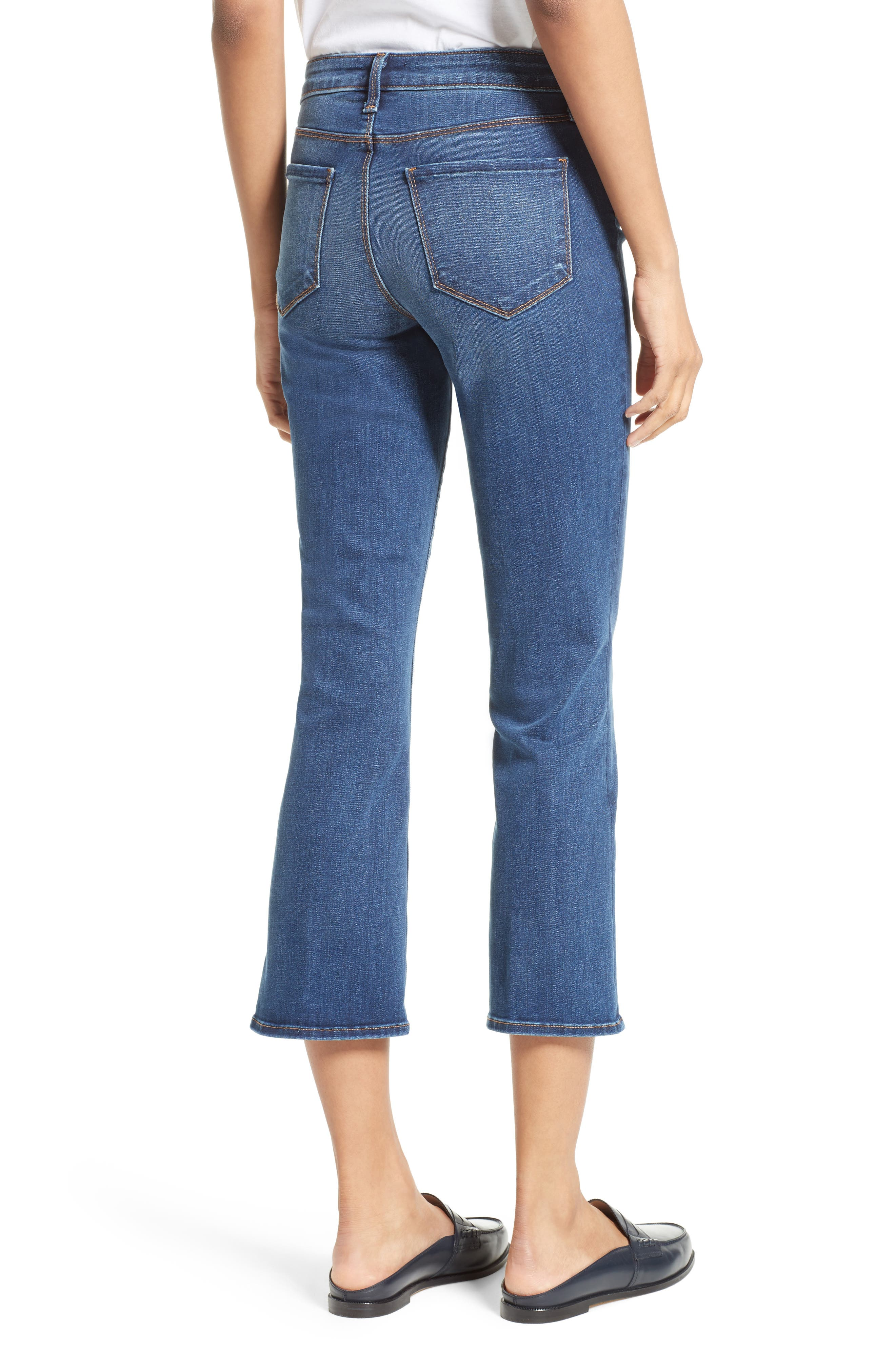 Crop Baby Flare Jeans,                             Alternate thumbnail 2, color,                             Azul