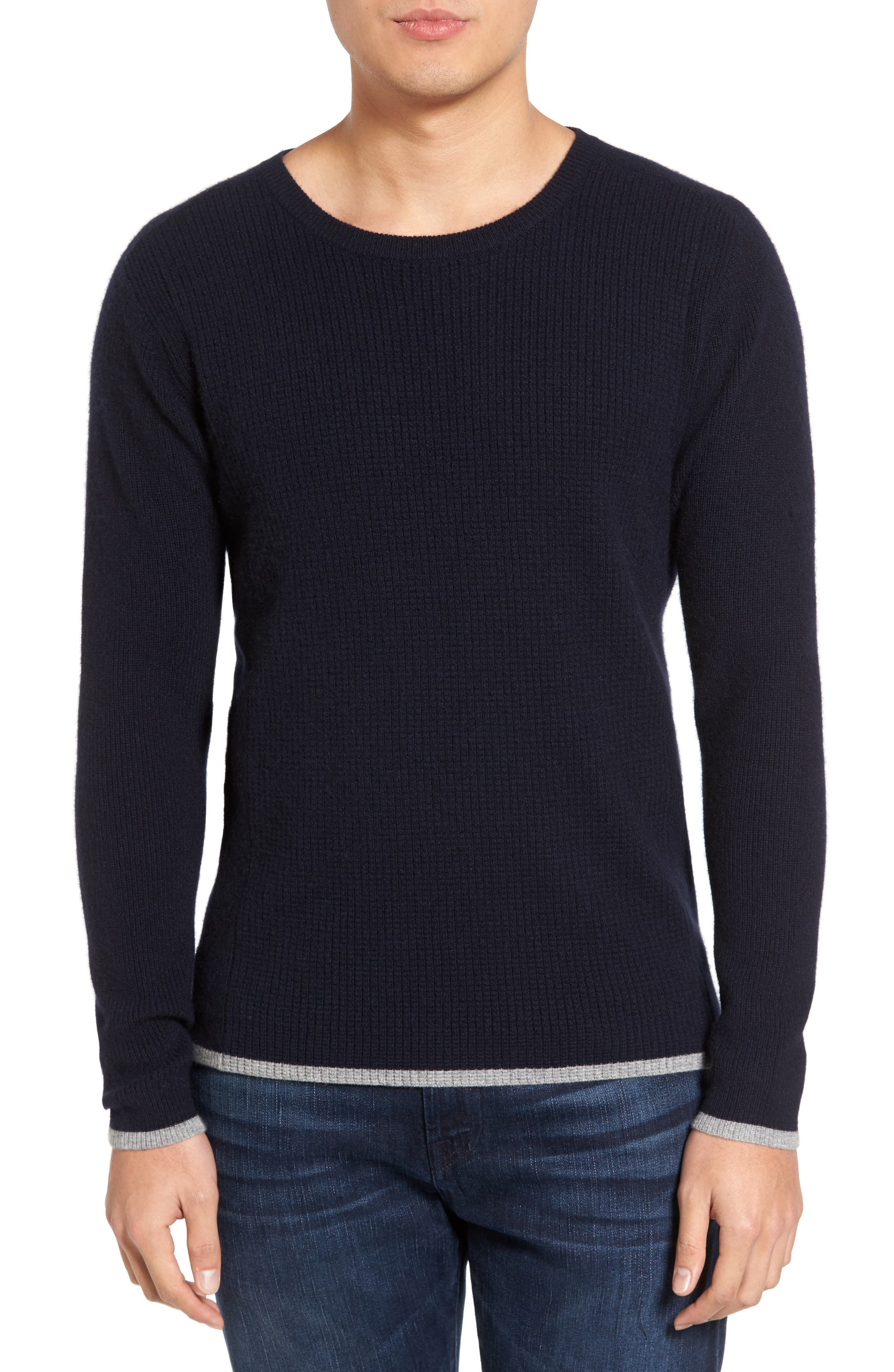 Jagger01 Tipped Cashmere Sweater,                         Main,                         color, Navy
