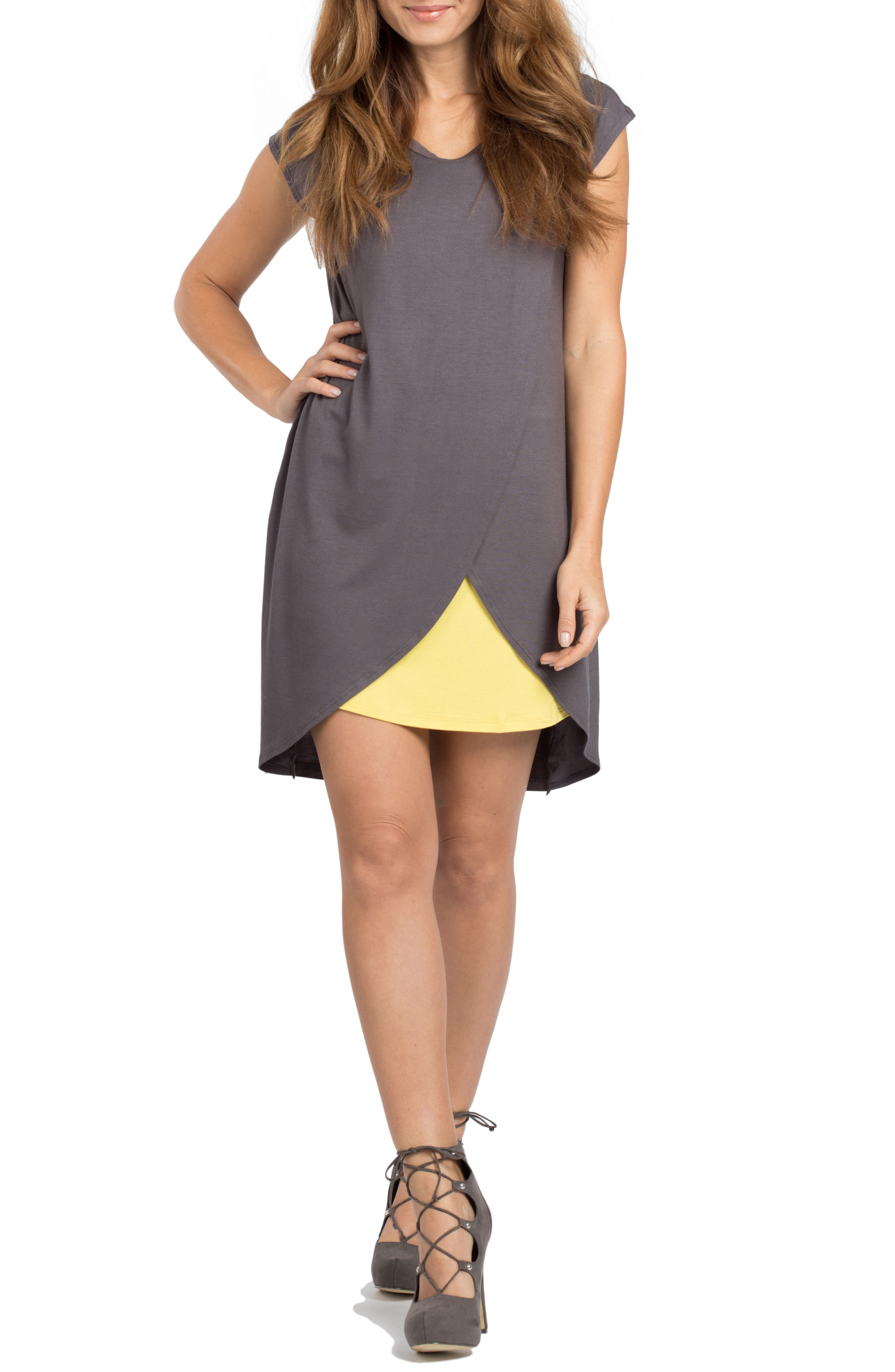 Lille Maternity/Nursing Tunic Dress,                         Main,                         color, Grey/ Yellow