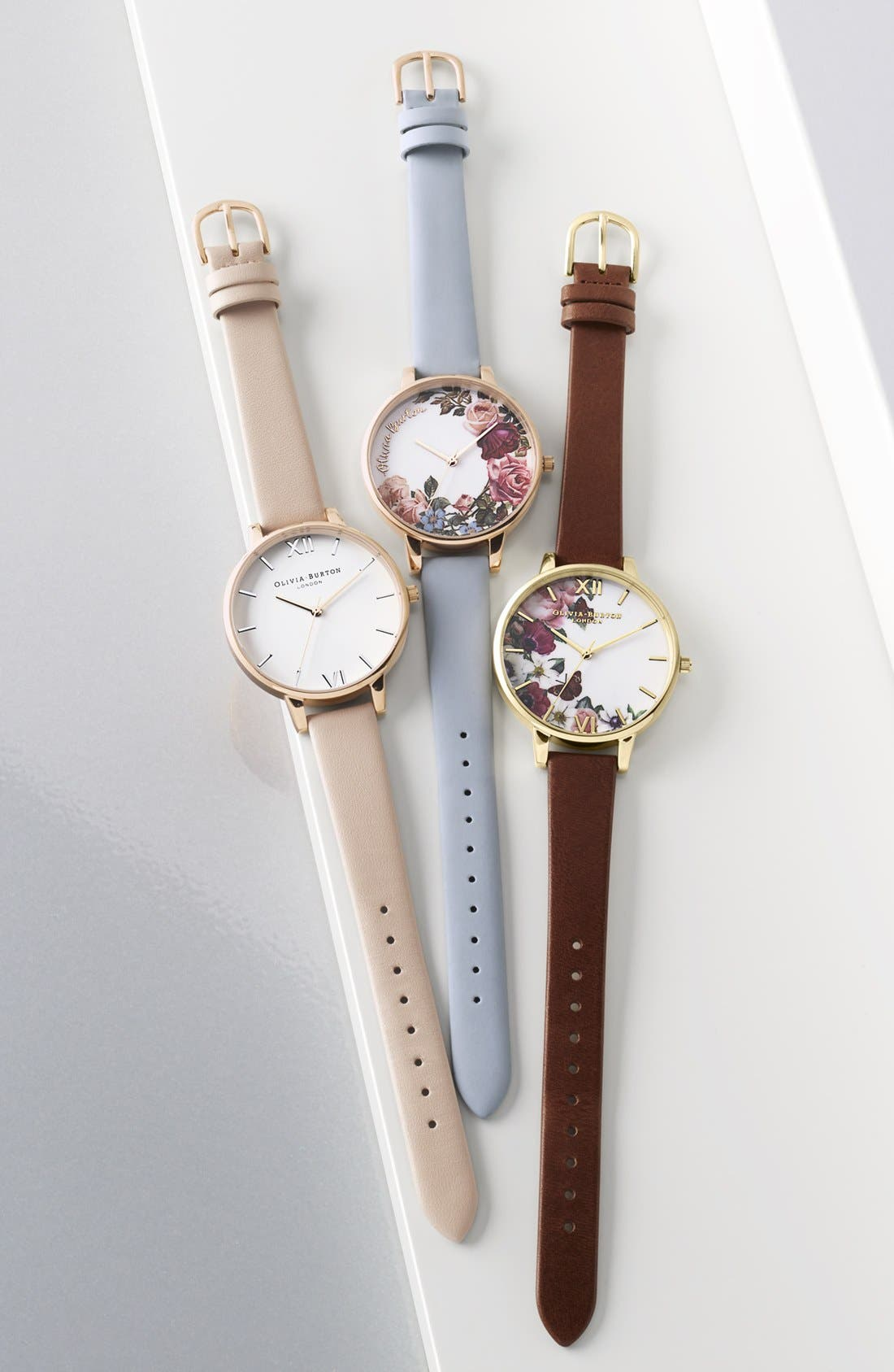 Alternate Image 5  - Olivia Burton Flower Show Leather Strap Watch, 38mm