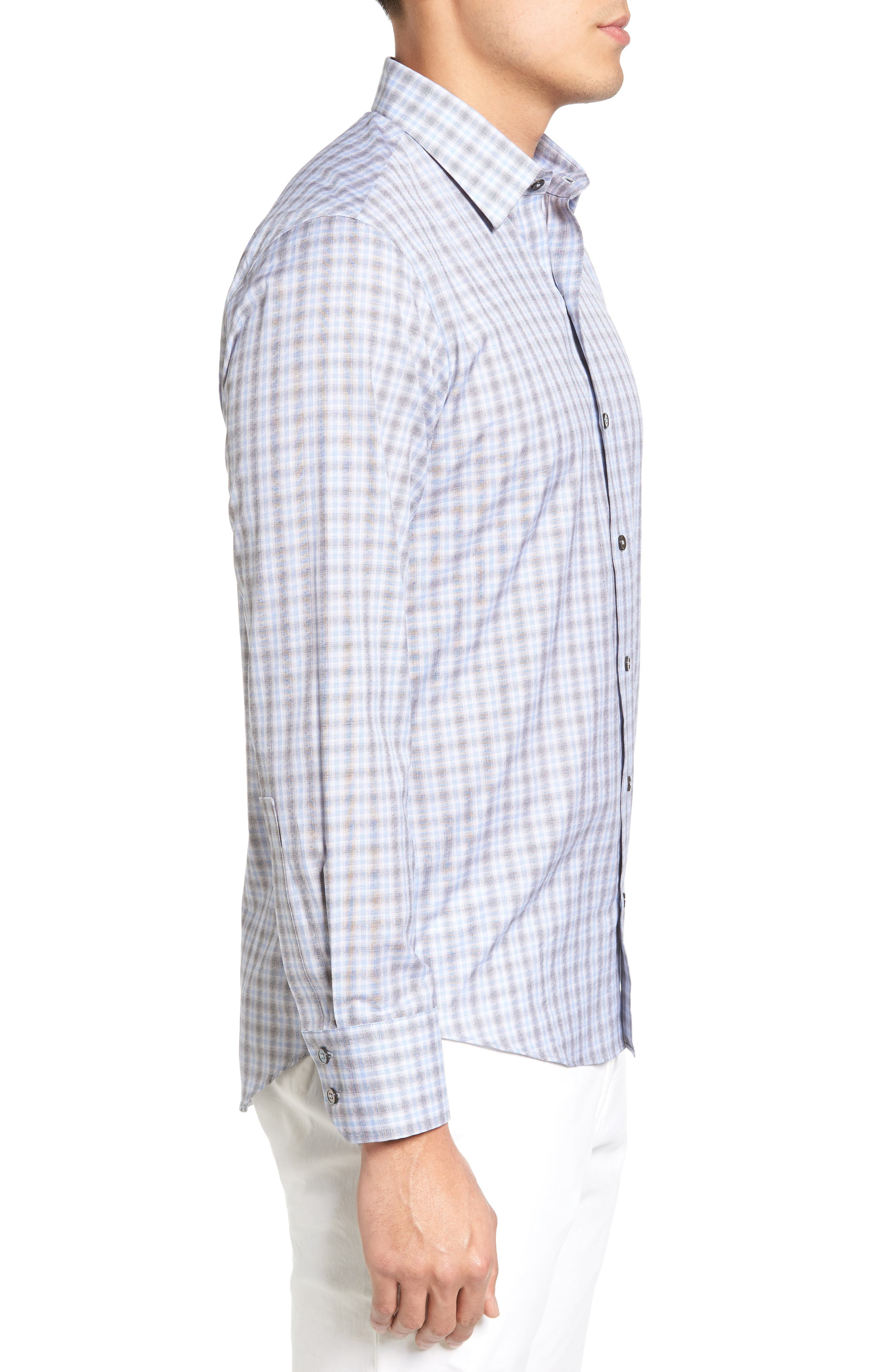 Cristiano Trim Fit Plaid Sport Shirt,                             Alternate thumbnail 3, color,                             Grey
