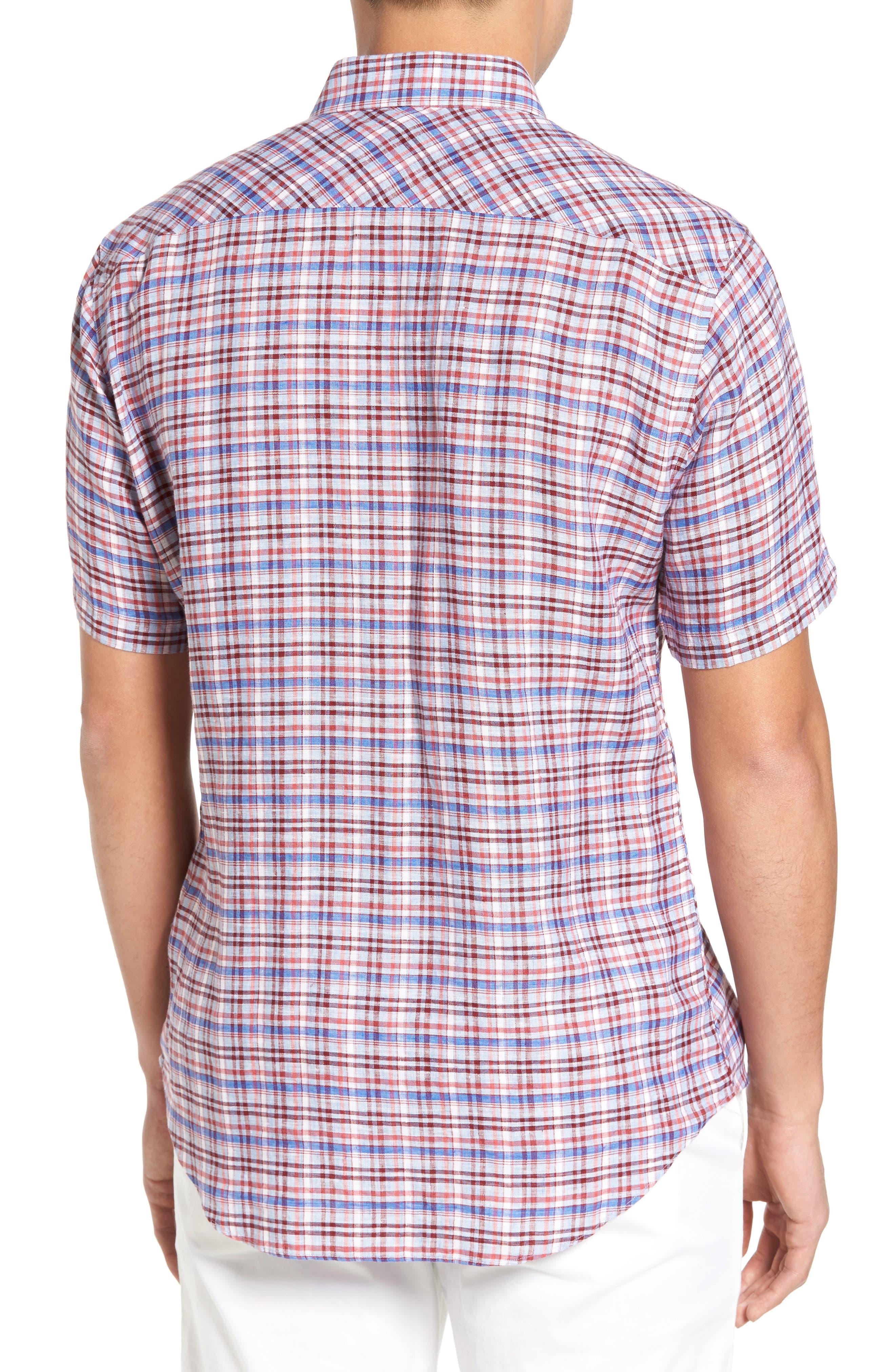 Alternate Image 2  - Zachary Prell Bean Trim Fit Plaid Linen Sport Shirt