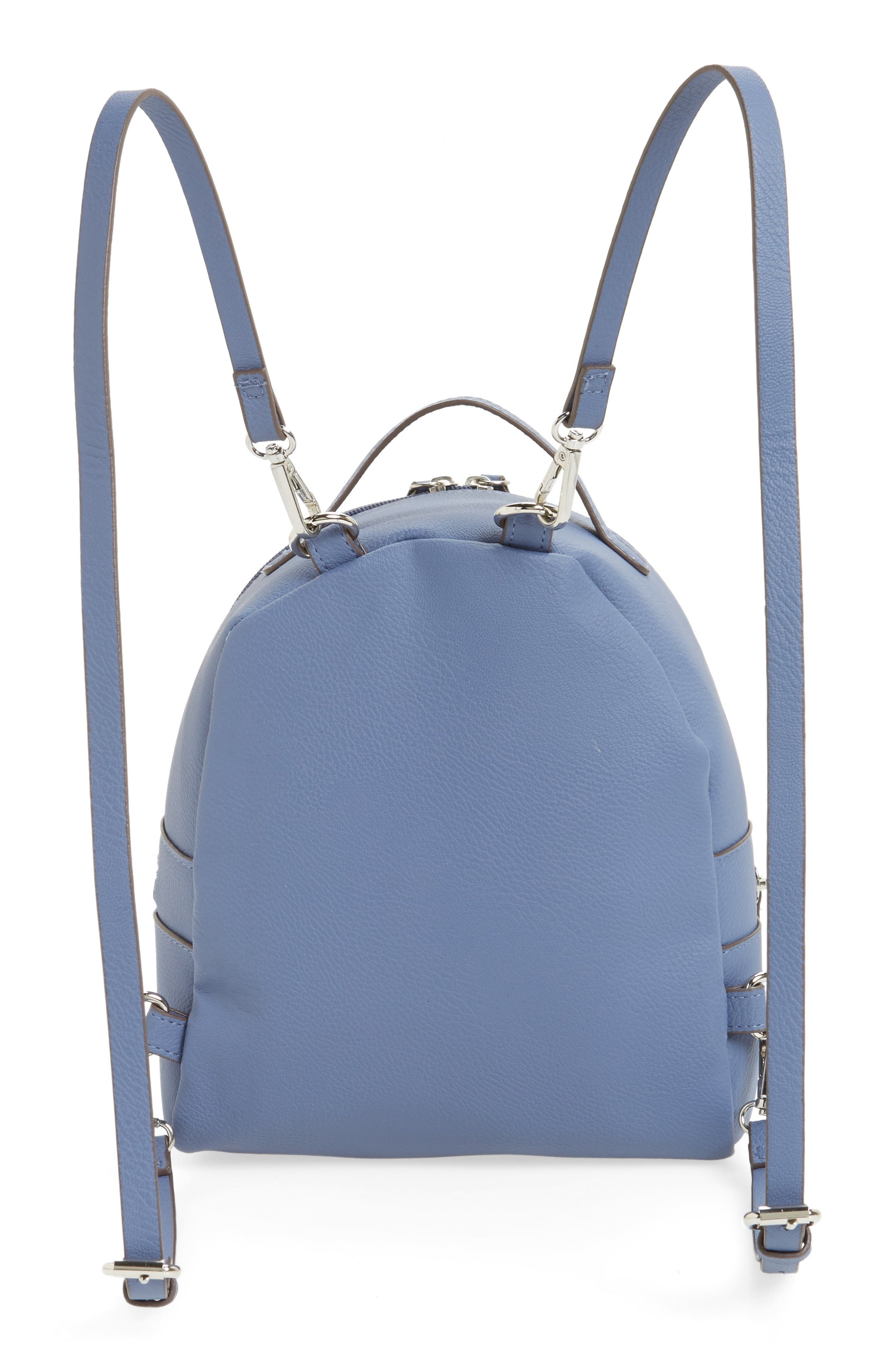 Textured Faux Leather Mini Backpack,                             Alternate thumbnail 3, color,                             Blue