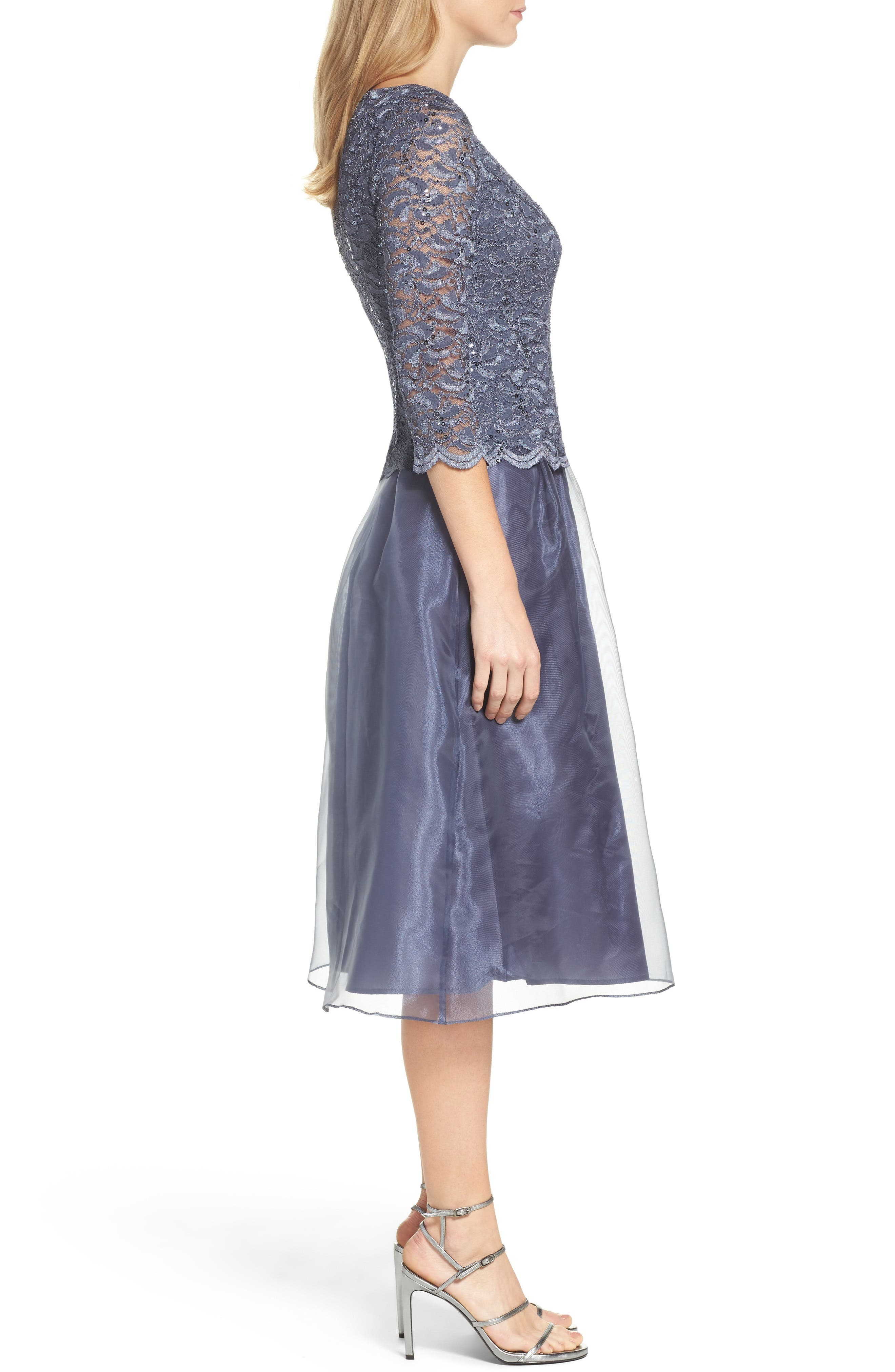 Alternate Image 3  - Alex Evenings Mixed Media Fit & Flare Dress (Regular & Petite)