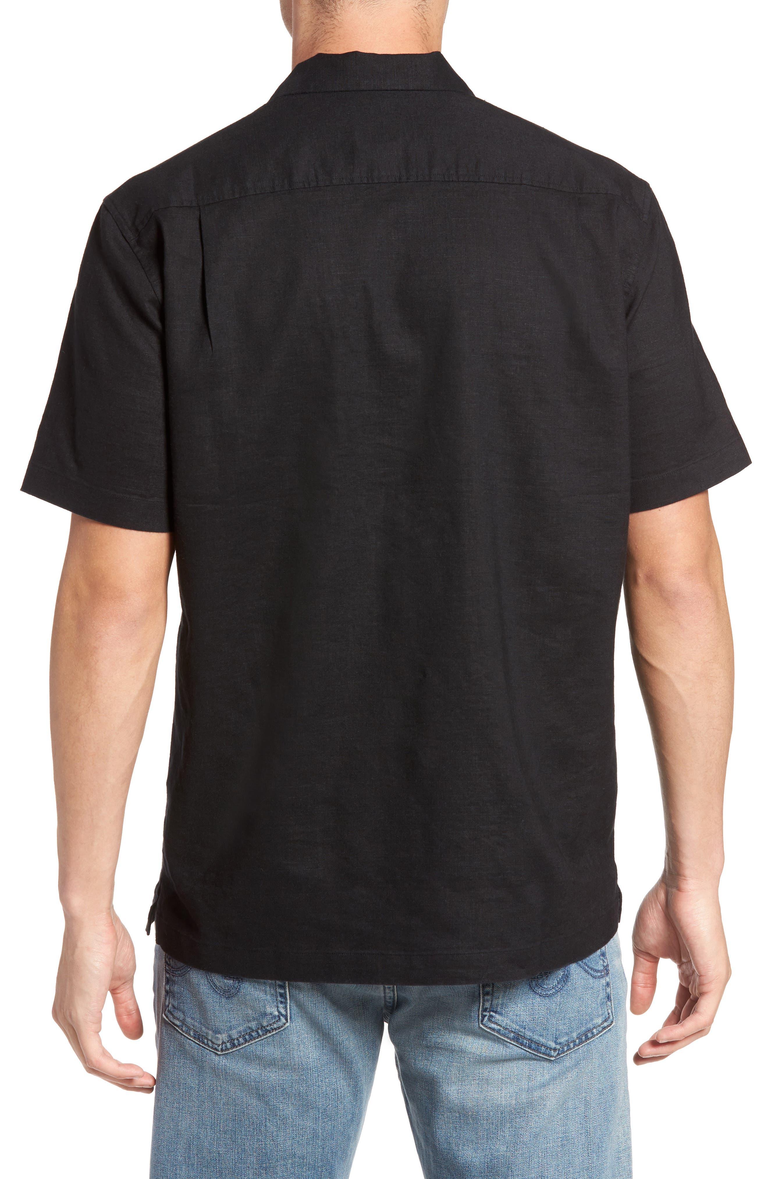 Monaco Tides Linen Blend Camp Shirt,                             Alternate thumbnail 2, color,                             Black