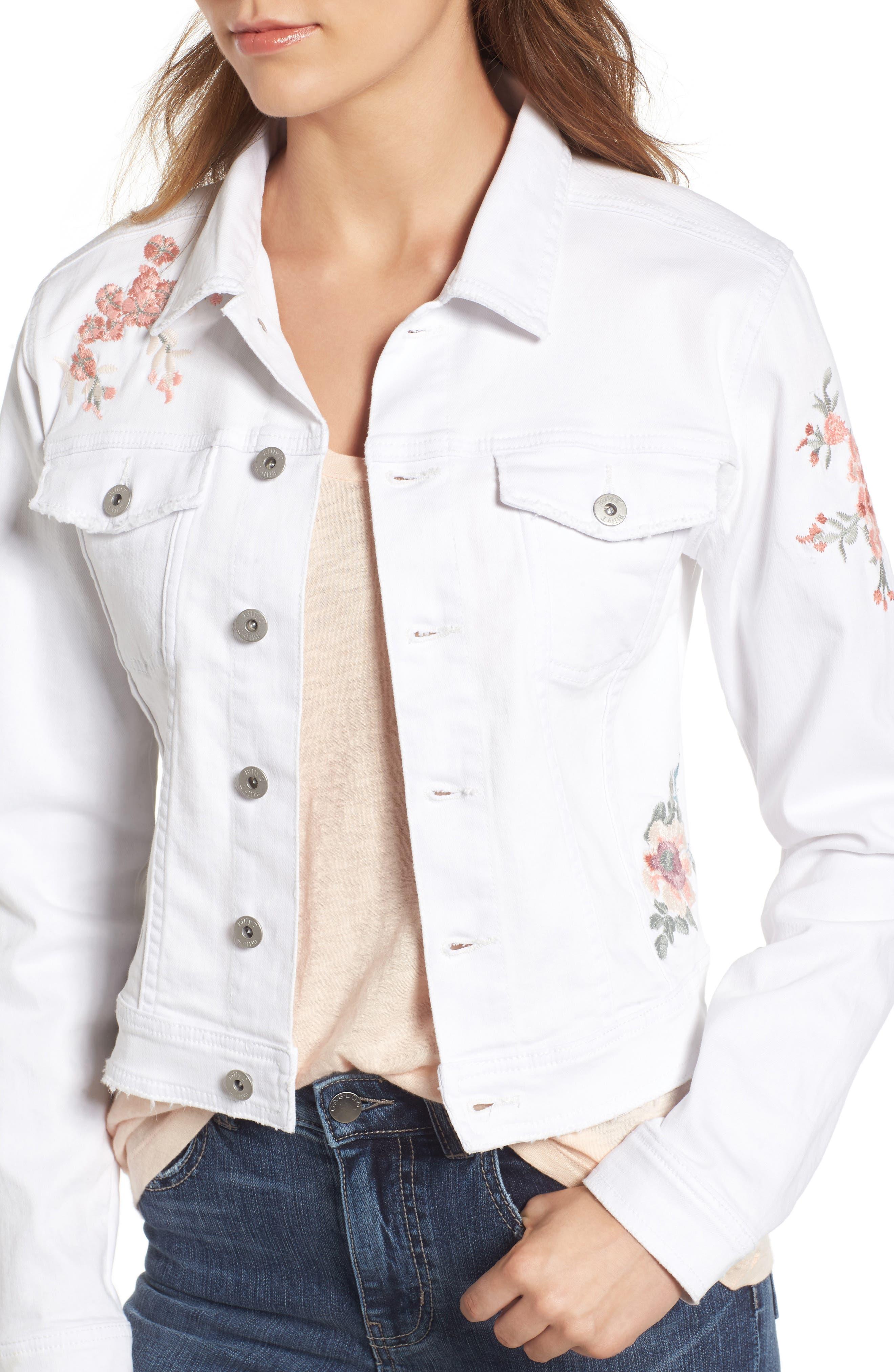 Alternate Image 4  - BILLY T Embroidered White Denim Jacket