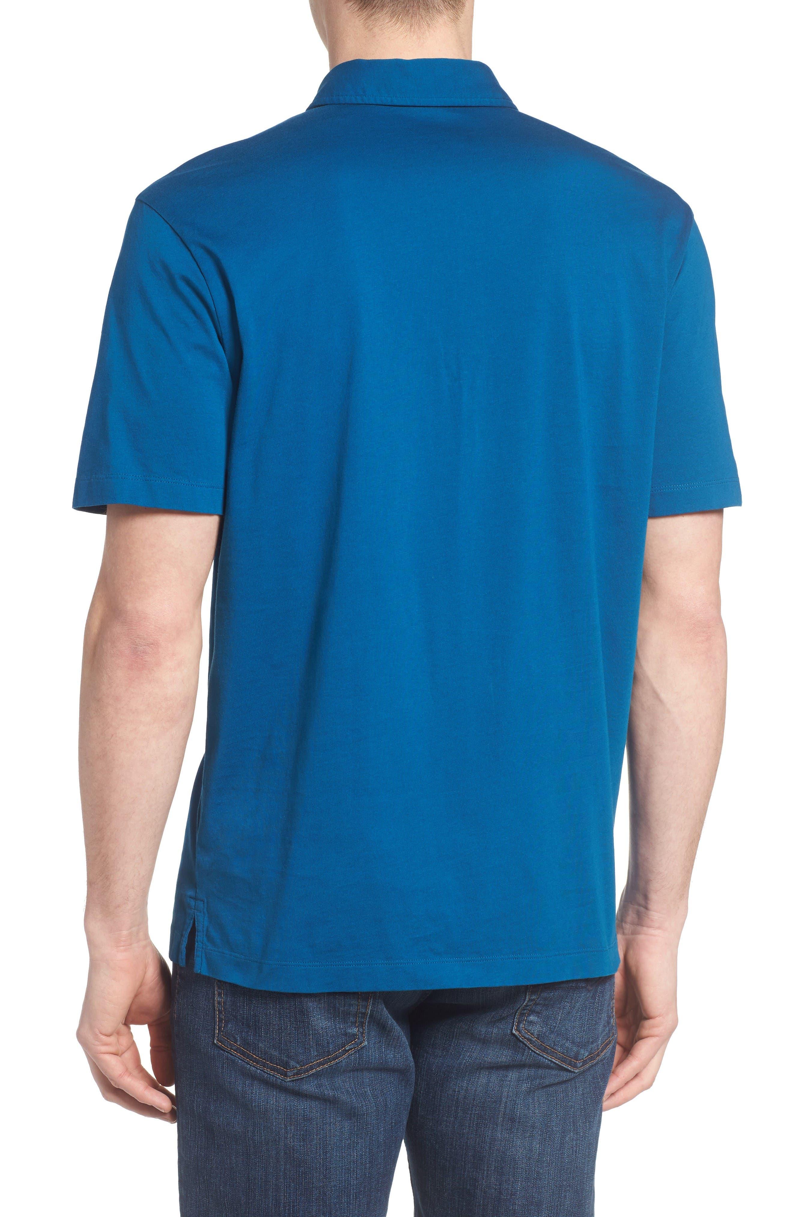 'Trout Fitz Roy' Organic Cotton Polo,                             Alternate thumbnail 2, color,                             Radar Blue