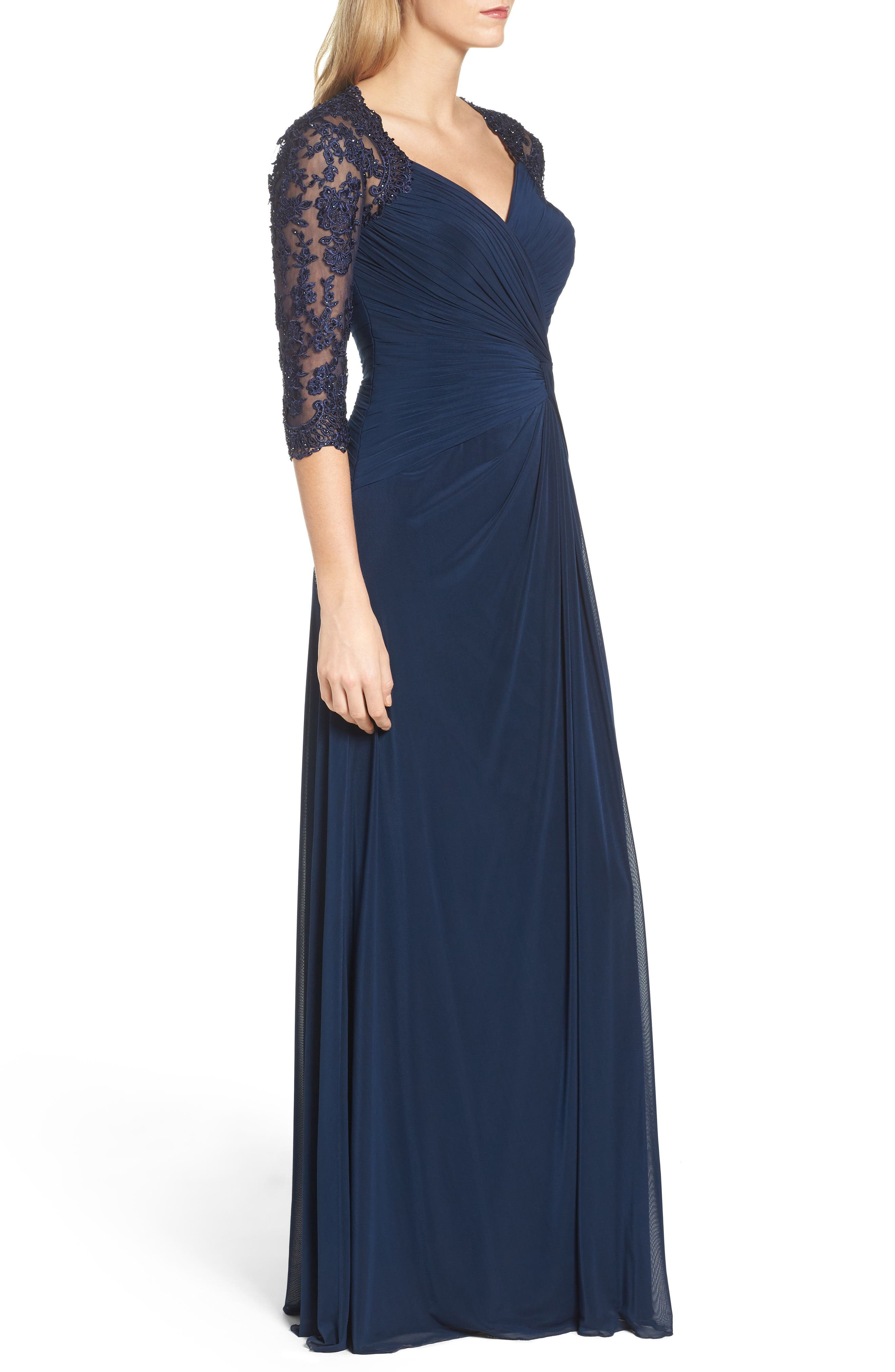 Lace & Net Ruched Twist Front Gown,                             Alternate thumbnail 3, color,                             Navy