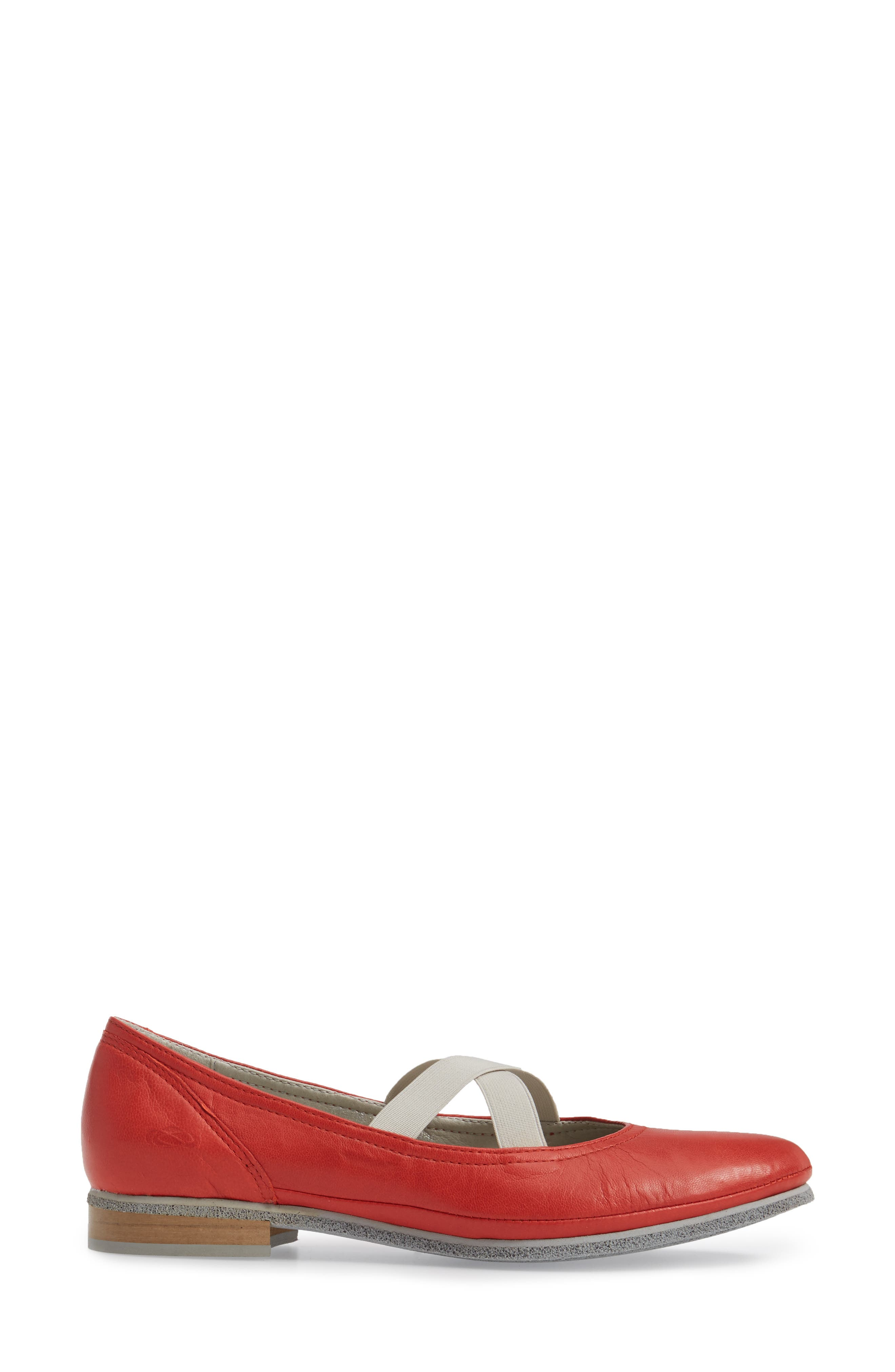 Ballet Strappy Flat,                             Alternate thumbnail 3, color,                             Red Leather