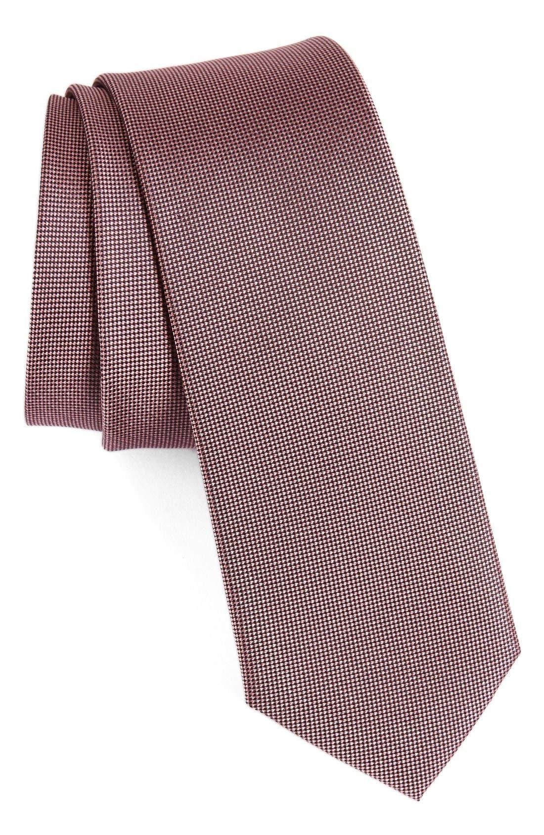 Woven Silk Tie,                         Main,                         color, Pink