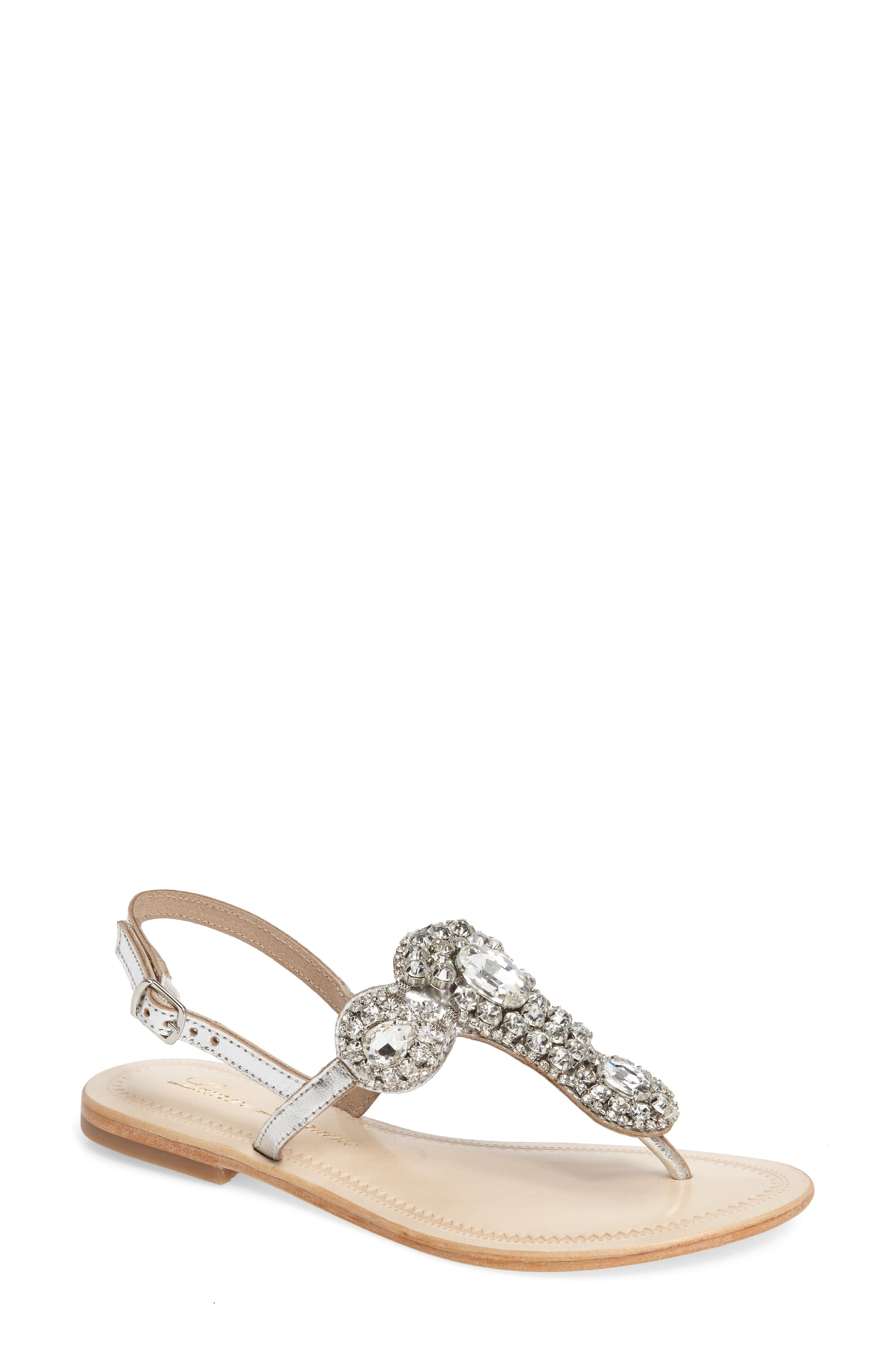 Bahama Crystal Embellished Sandal,                             Main thumbnail 1, color,                             Silver Leather