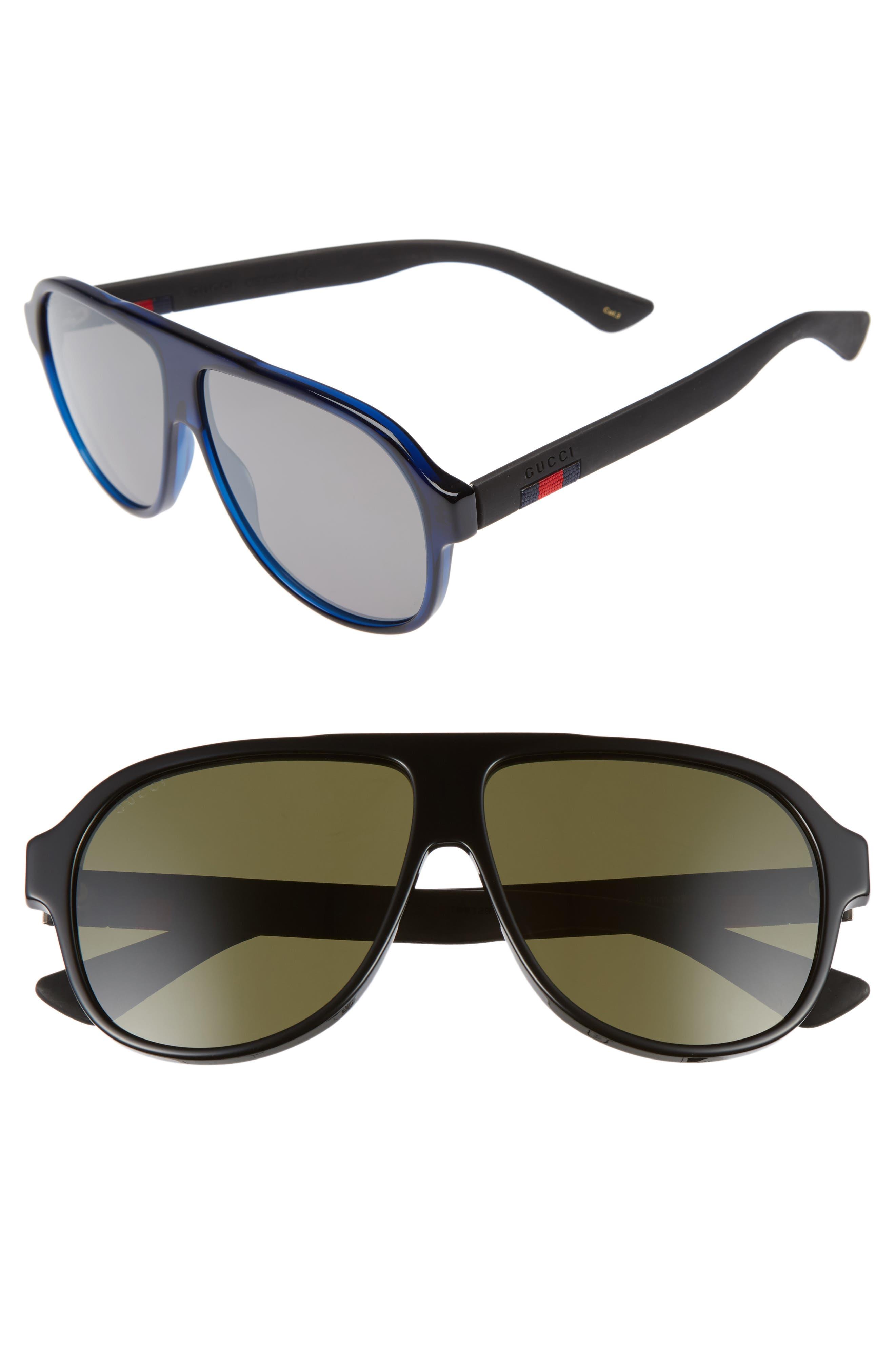 Oversize 59mm Sunglasses,                             Main thumbnail 1, color,                             Black/ Green