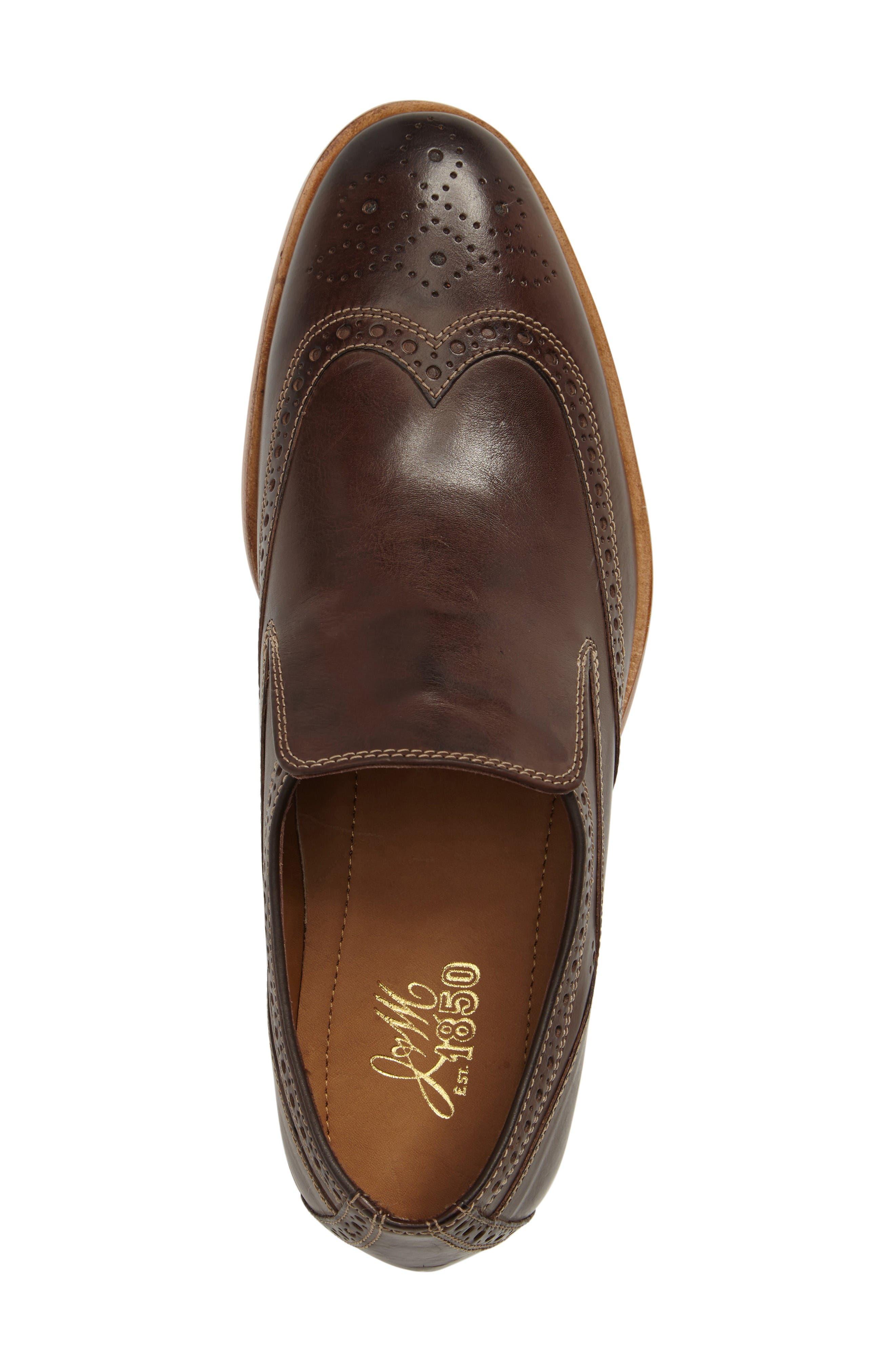 Graham Wingtip Loafer,                             Alternate thumbnail 5, color,                             Dark Brown Calfskin Leather