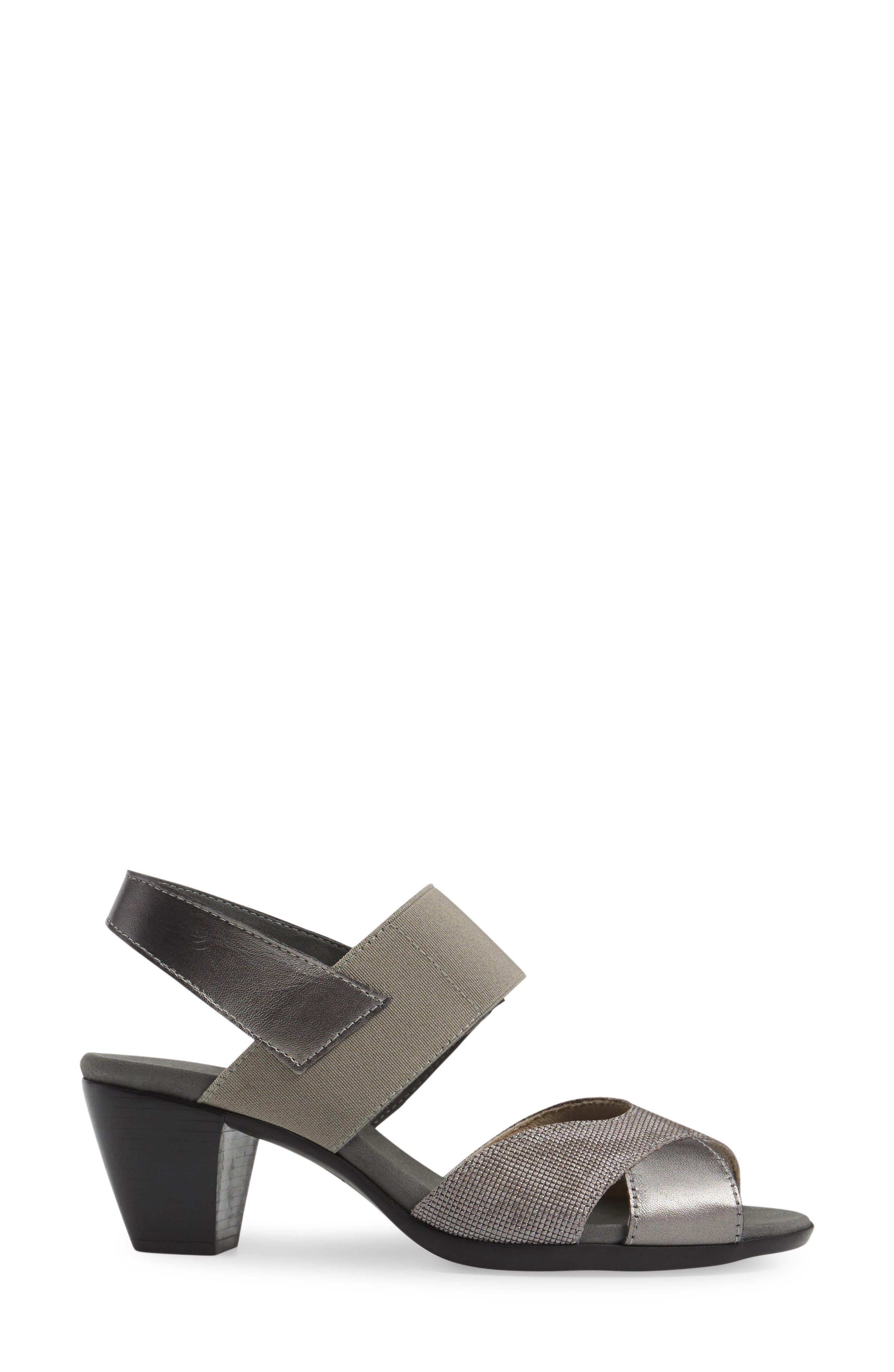 Darling Mixed Finish Slingback Sandal,                             Alternate thumbnail 3, color,                             Pewter Leather