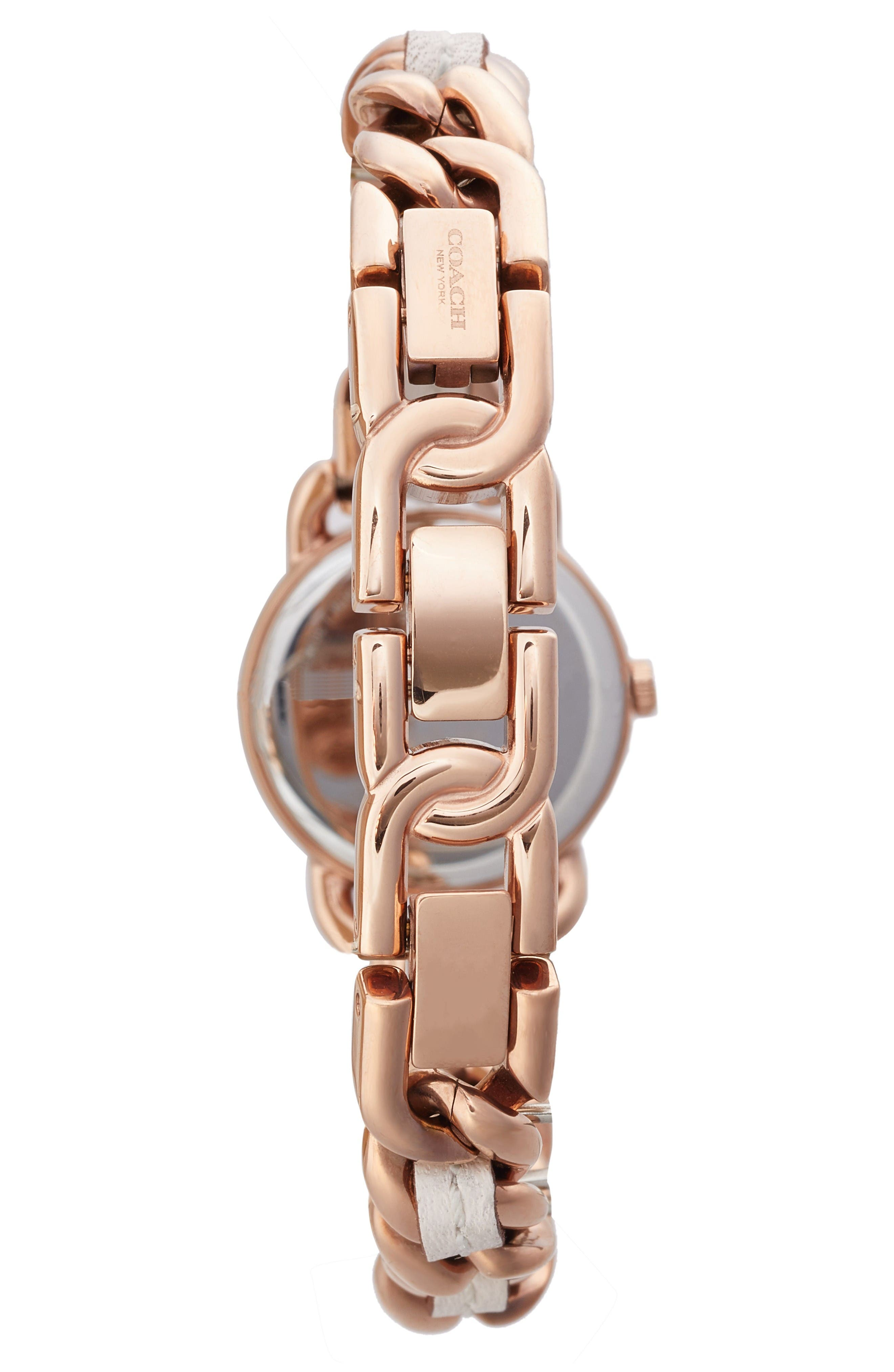 Delancey Leather Chain Watch, 23mm,                             Alternate thumbnail 2, color,                             White/ Rose Gold