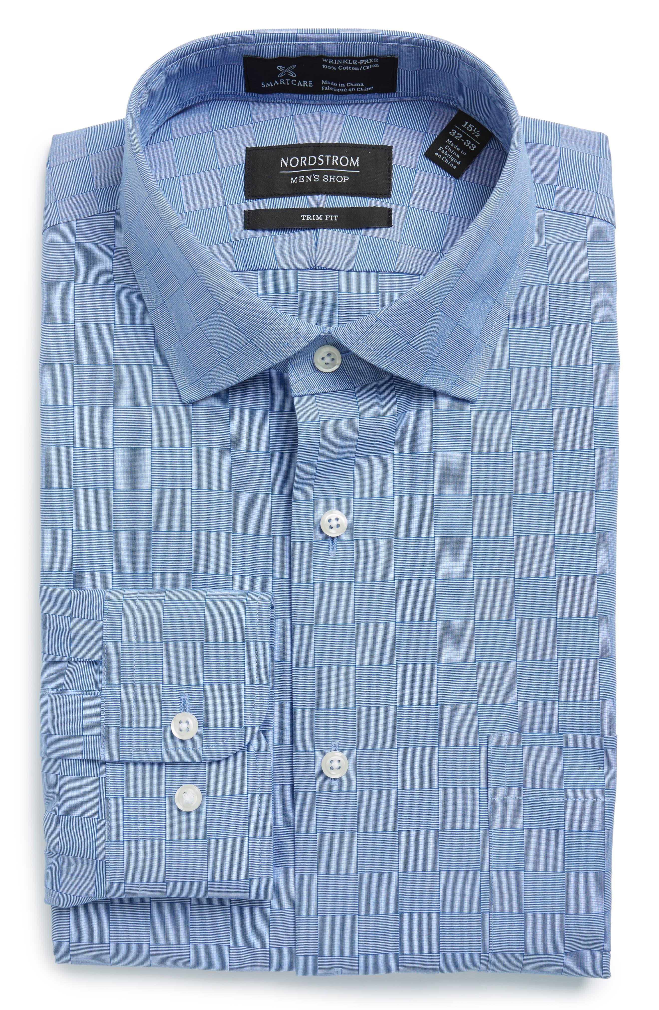Smartcare<sup>™</sup> Trim Fit Check Dress Shirt,                             Alternate thumbnail 4, color,                             Blue Regatta