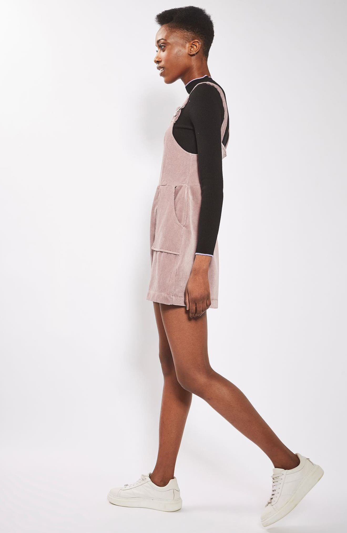 Alternate Image 2  - Topshop Velvet Corduroy Pinafore Dress (Petite)