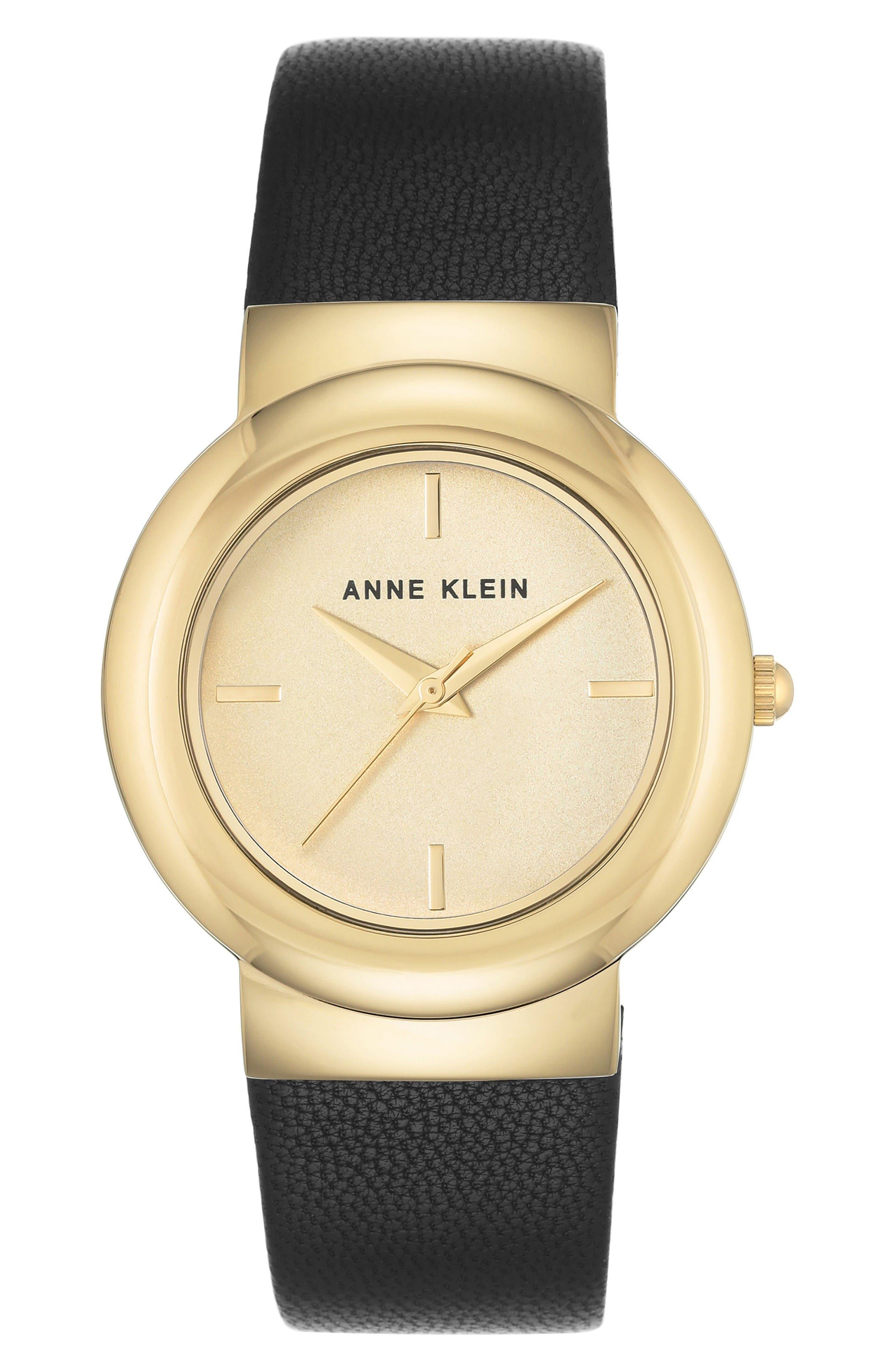 Anne Klein Round Leather Strap Watch, 36mm