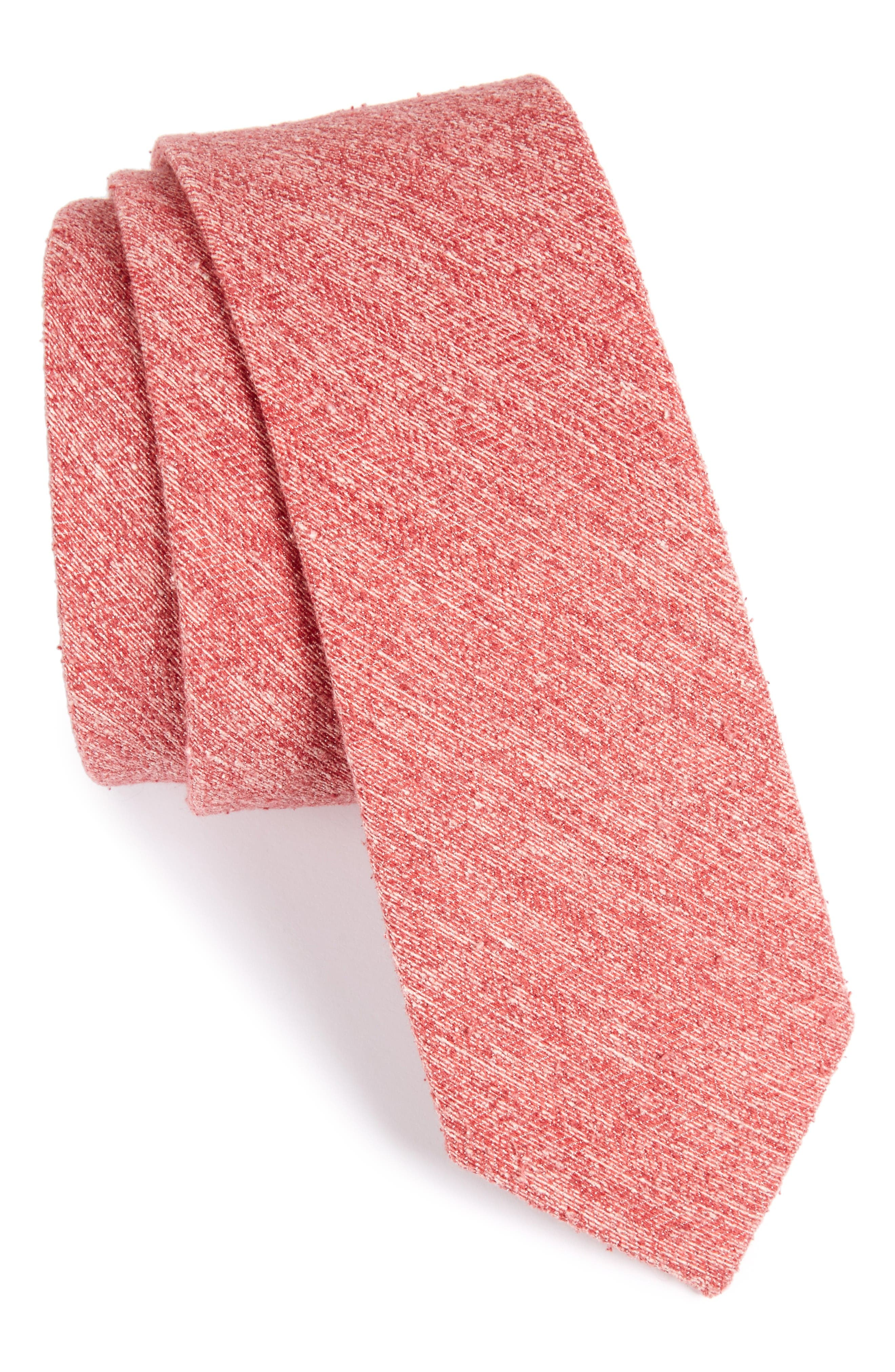 Buff Solid Silk Skinny Tie,                             Main thumbnail 1, color,                             Red