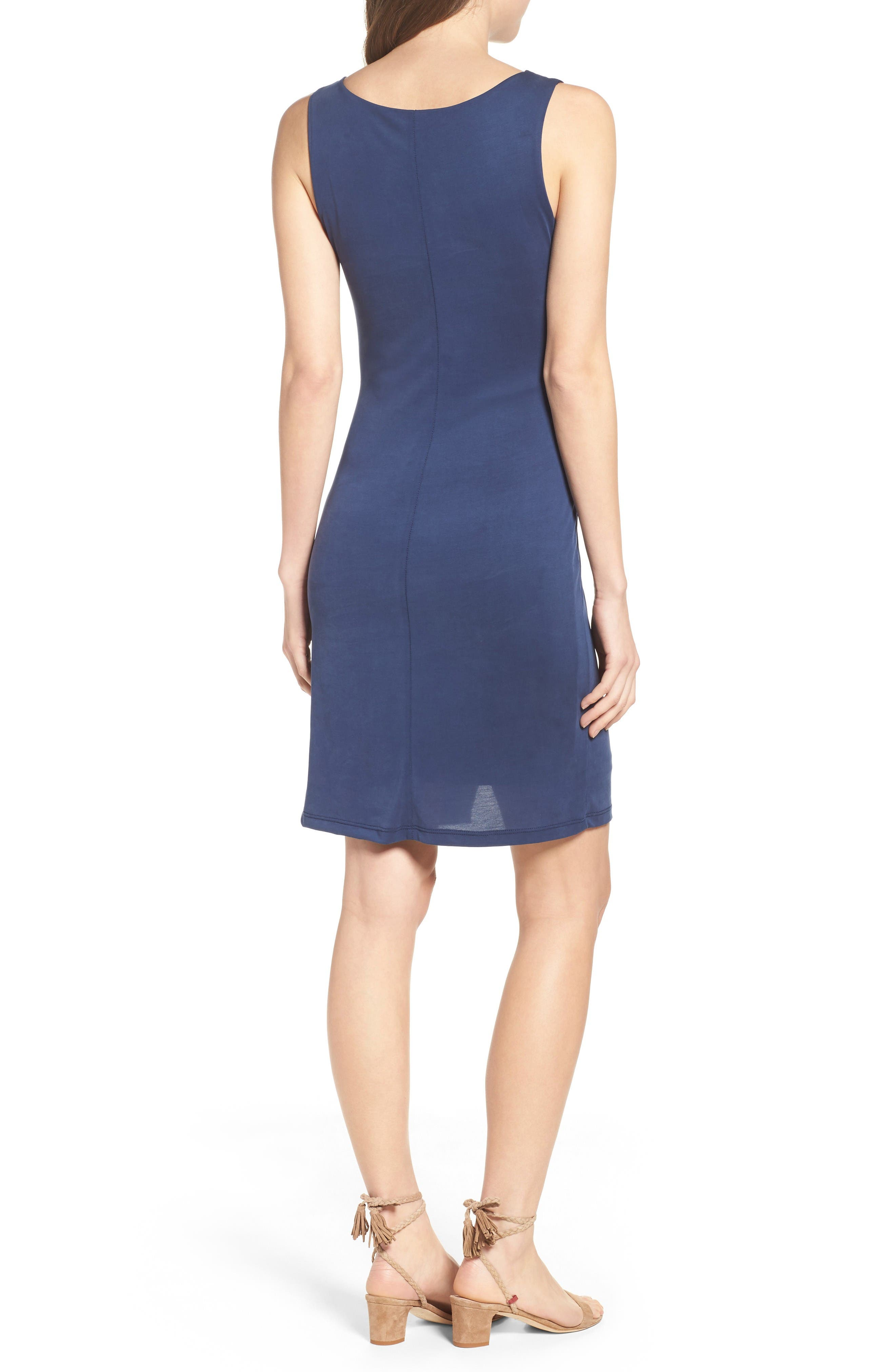 Pleated Body-Con Dress,                             Alternate thumbnail 2, color,                             Navy