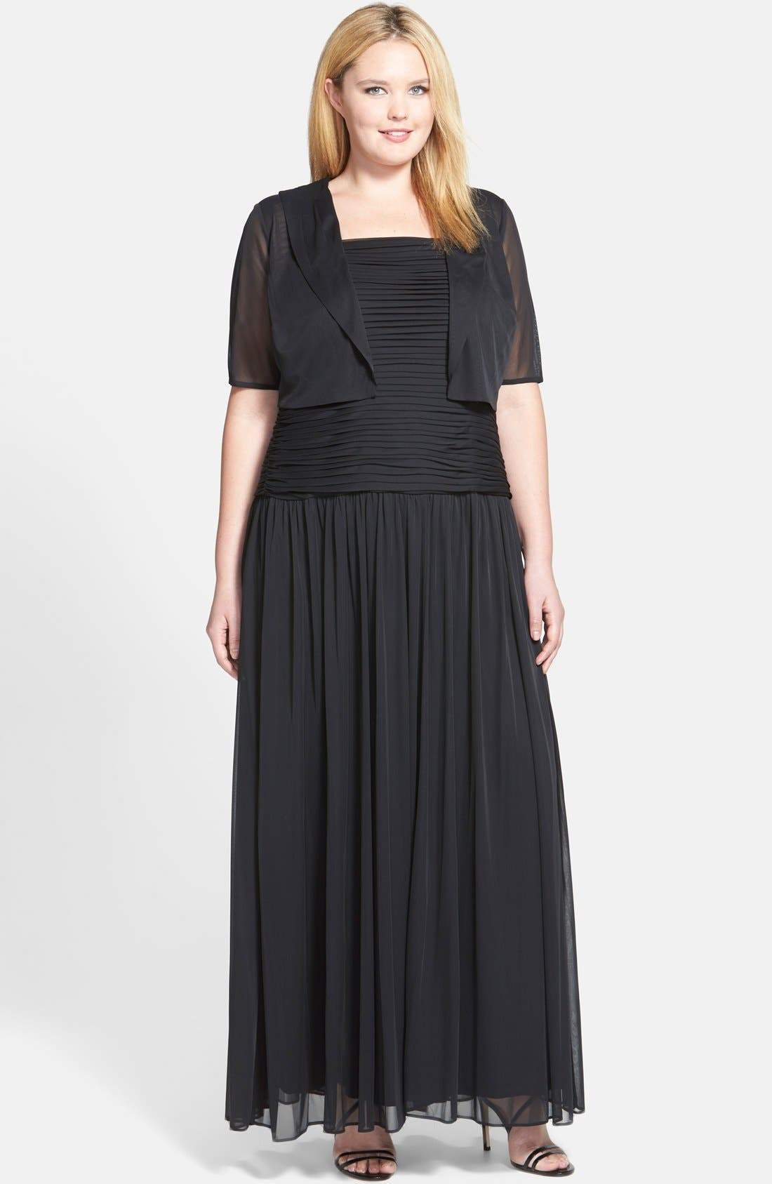 Alternate Image 1 Selected - Adrianna Papell Pleat Bodice Tulle Gown & Shrug (Plus Size)
