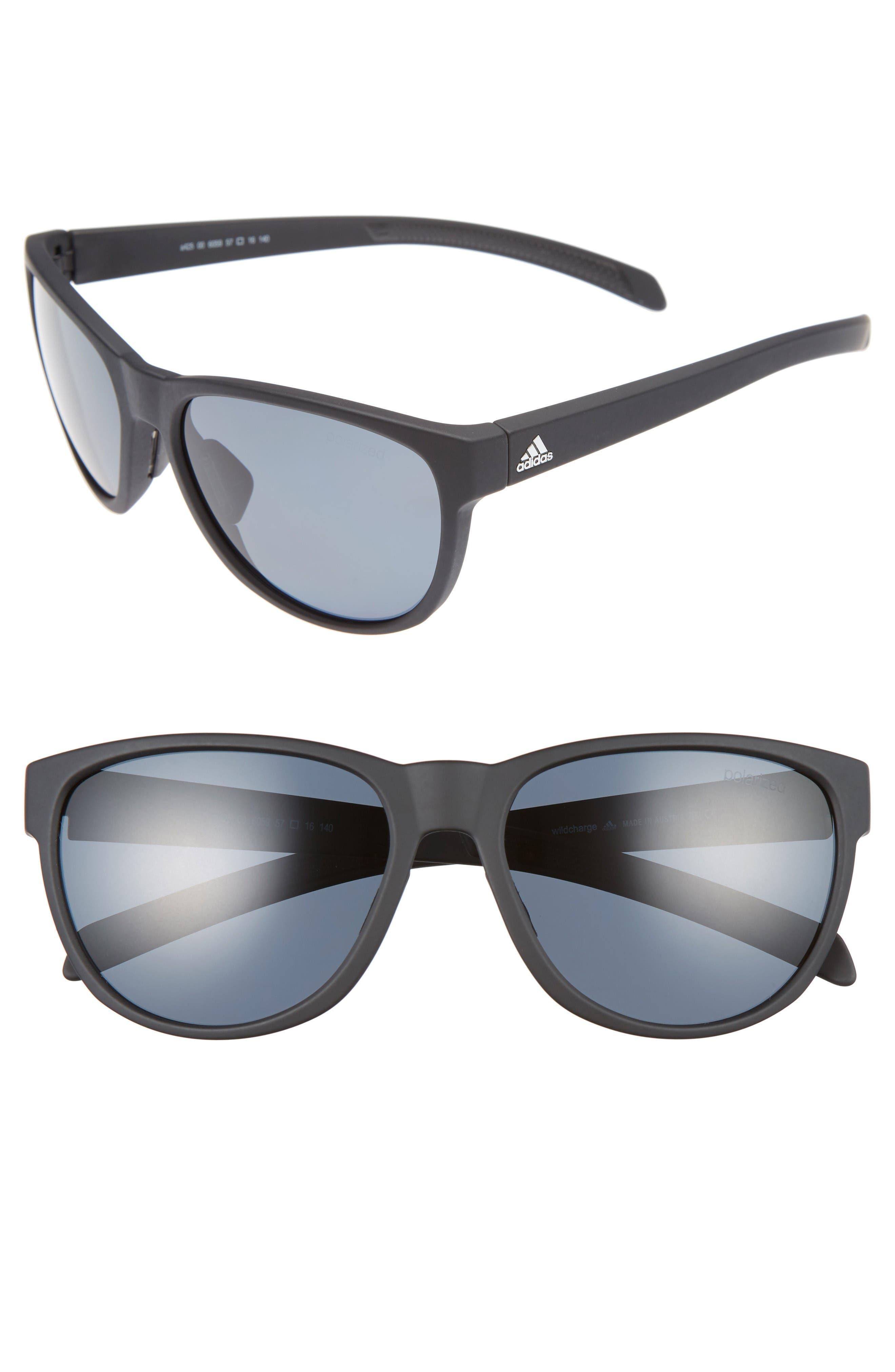 Wildcharge 61mm Polarized Sunglasses,                         Main,                         color, Black Matte/ Grey Polar