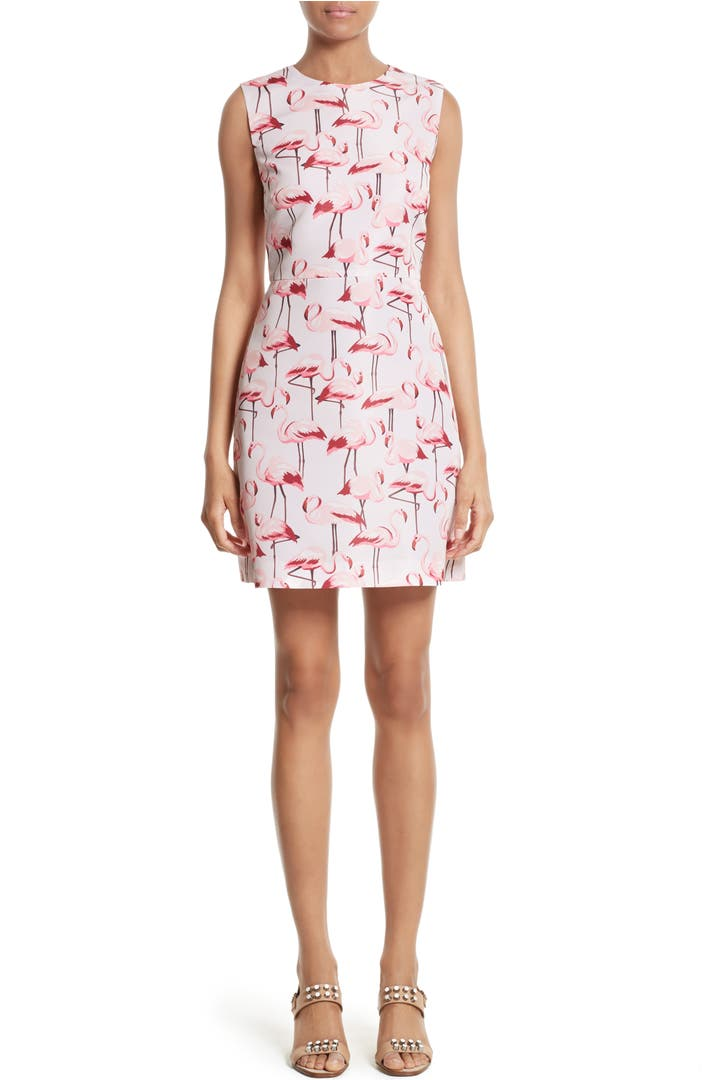 RED Valentino Flamingo Print Faille Fit & Flare Dress ...