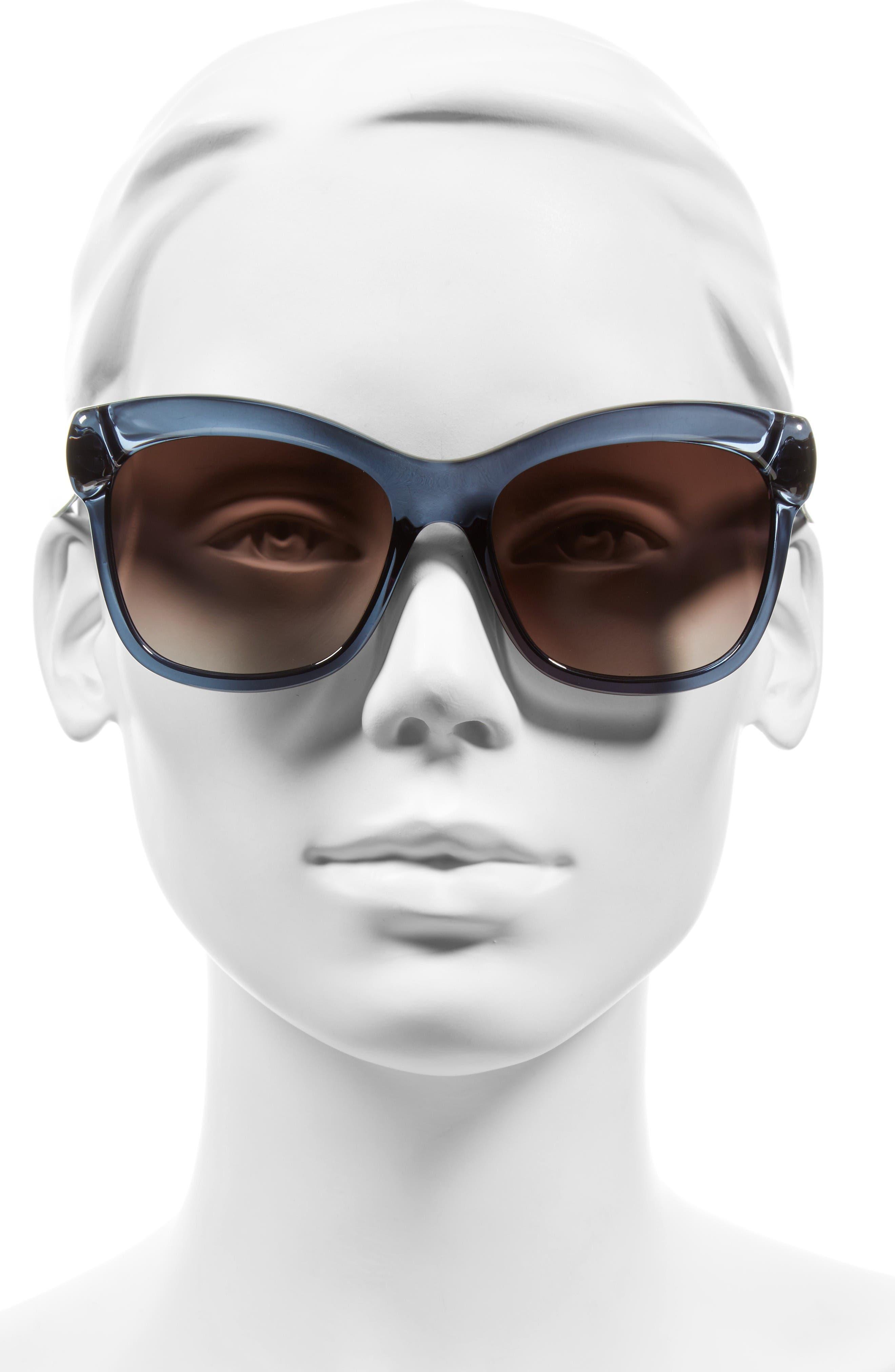 55mm Retro Sunglasses,                             Alternate thumbnail 2, color,                             Blue