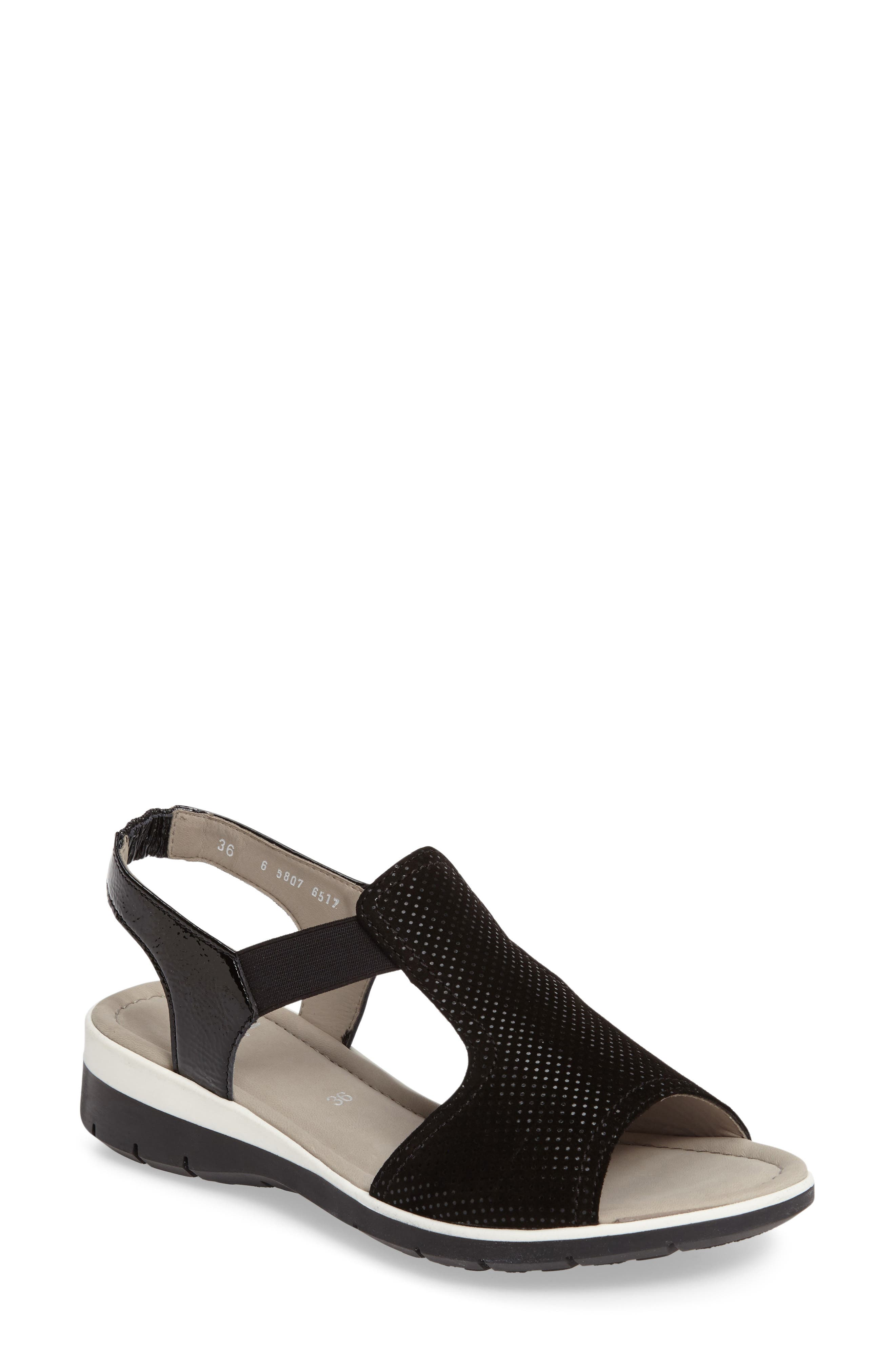Lena Sandal,                         Main,                         color, Black Leather