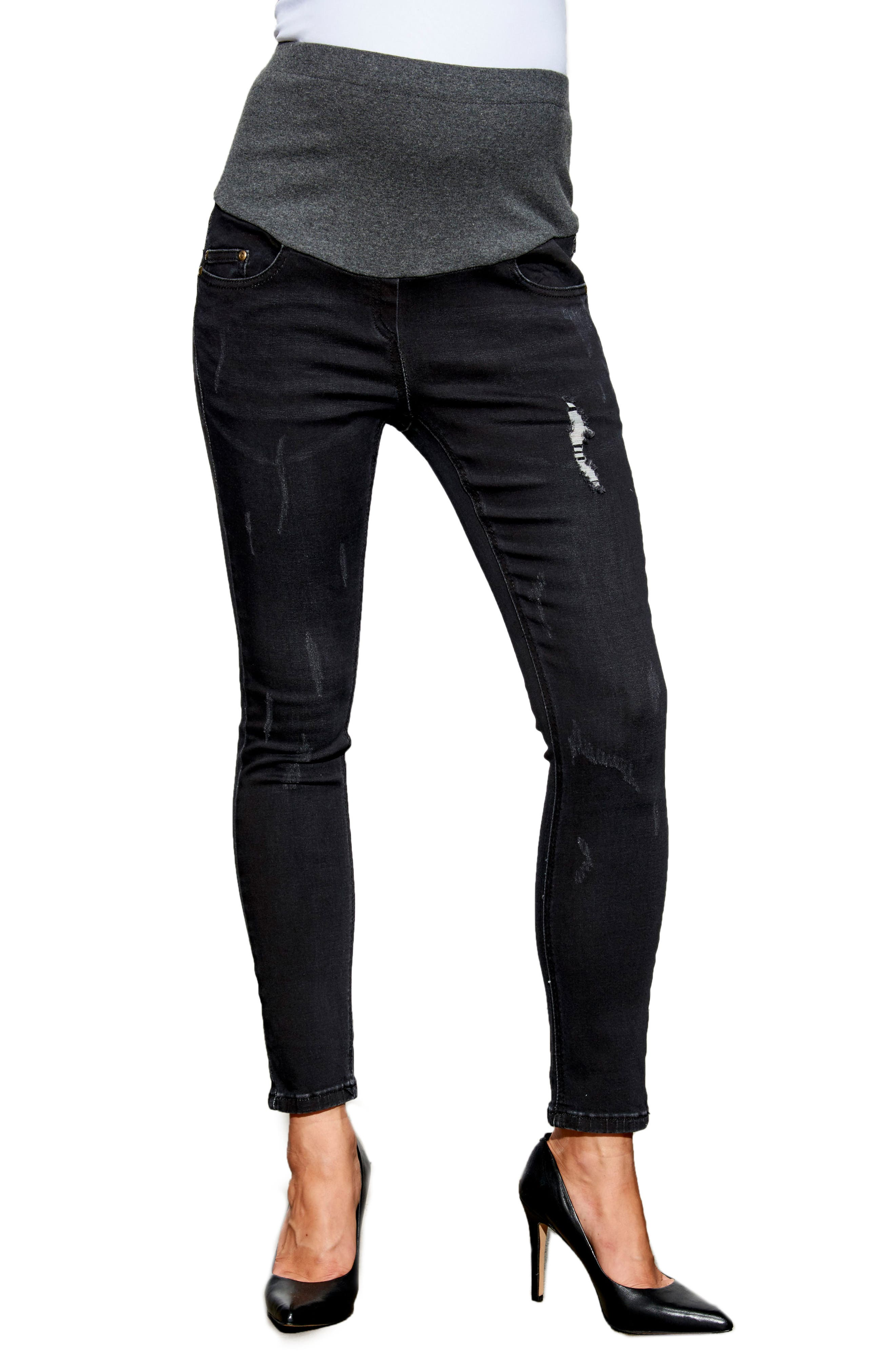 Over the Bump Maternity Ankle Jeans,                         Main,                         color, Dark Grey