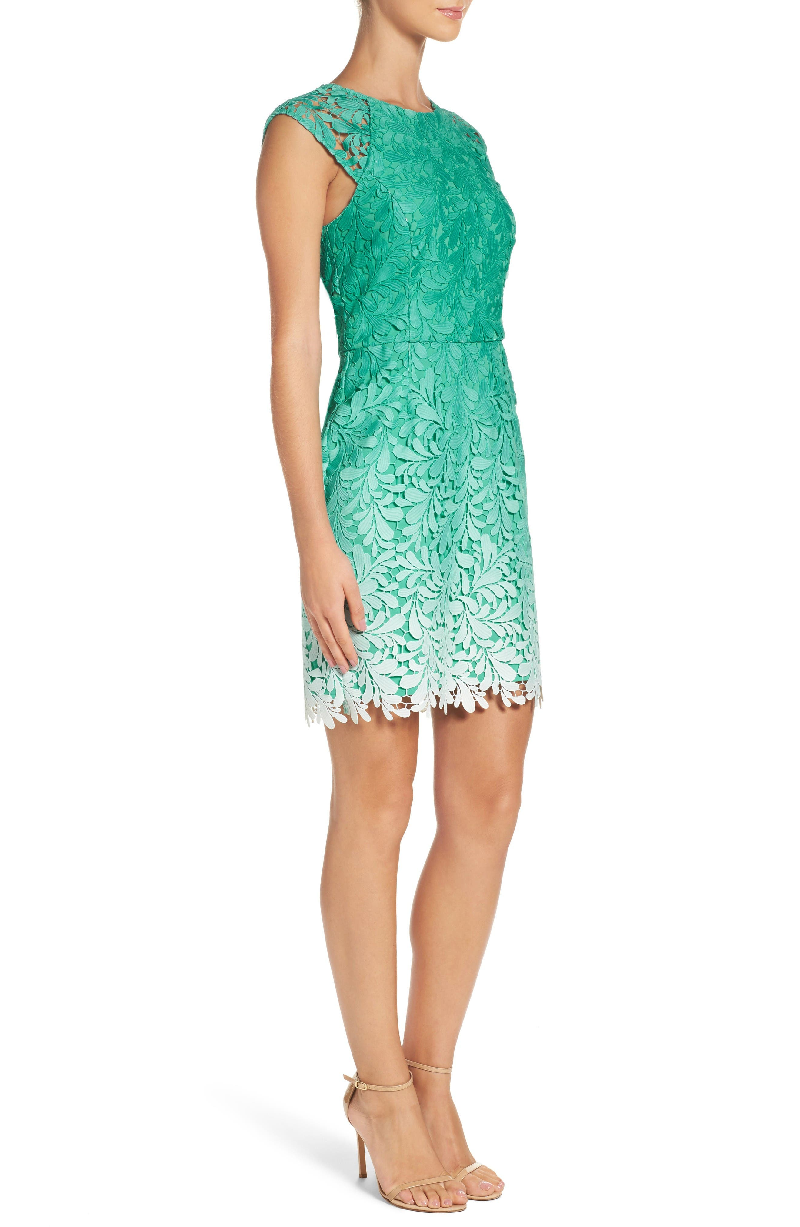 Ombré Lace Sheath Dress,                             Alternate thumbnail 3, color,                             Seafoam