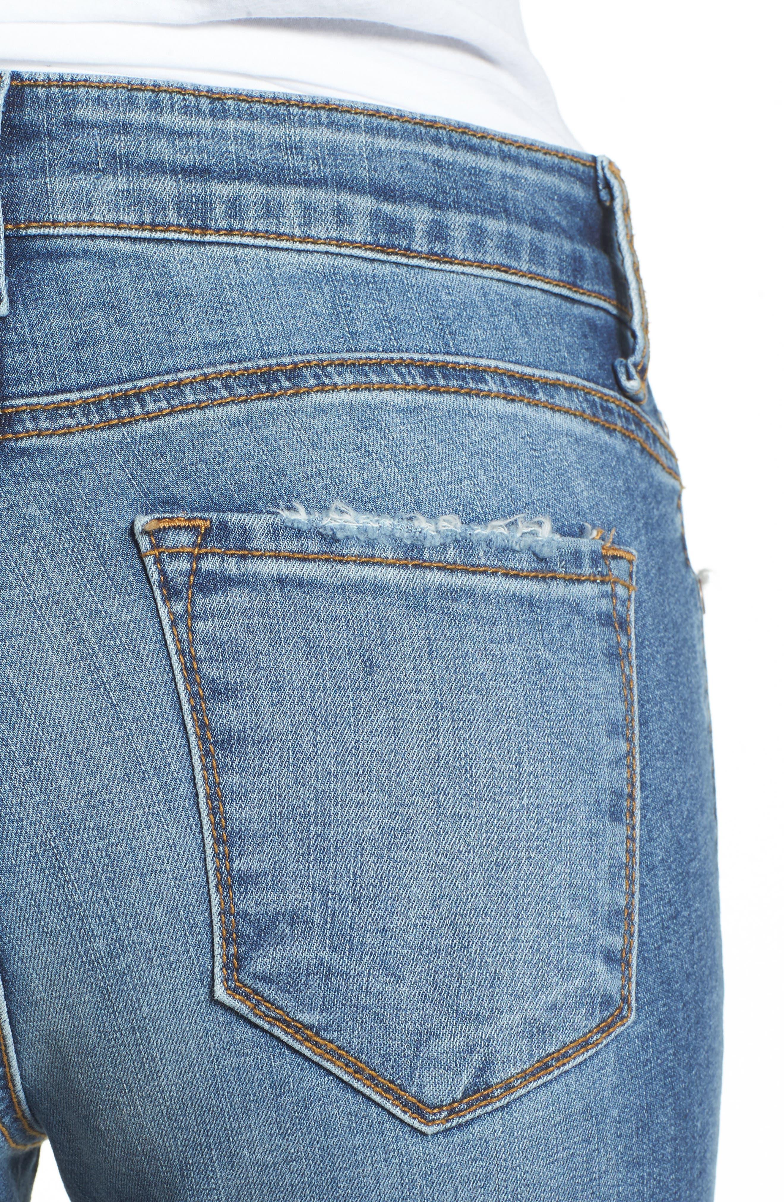 Alternate Image 4  - BP. Ripped Step Hem Skinny Jeans (Destroy Rinse)