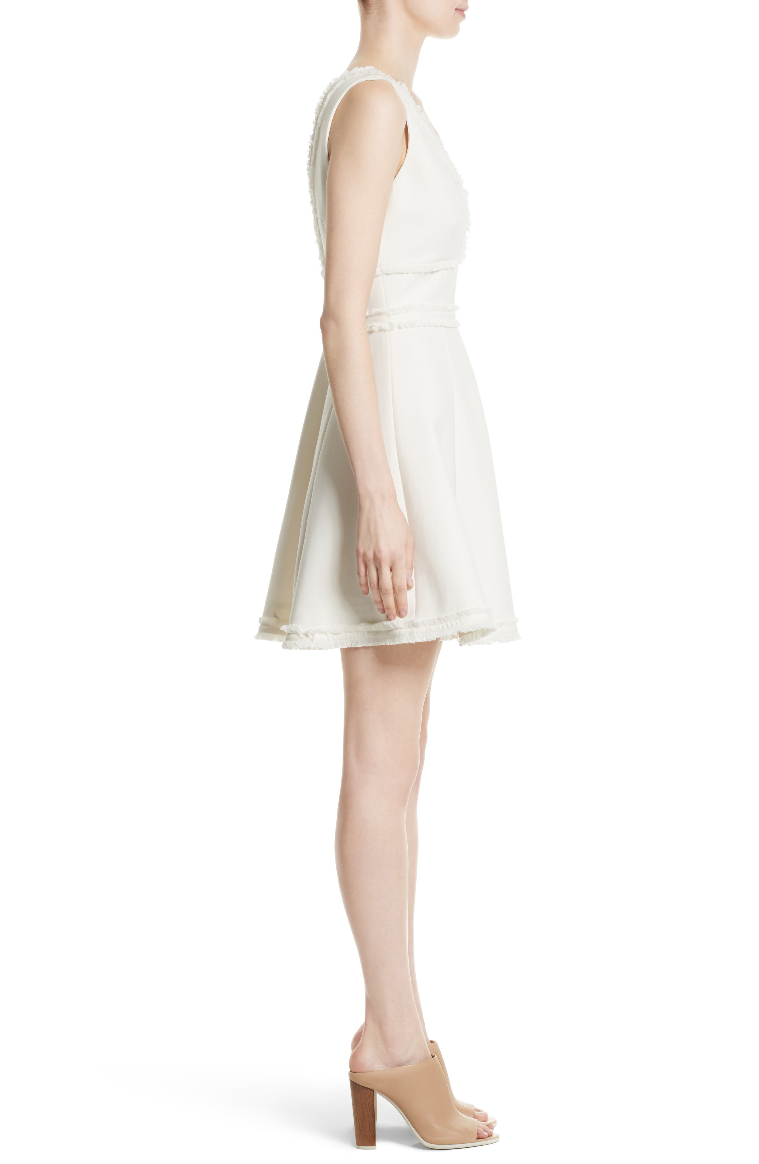 Aurora Fringe Trim Fit & Flare Dress,                             Alternate thumbnail 3, color,                             Ivory